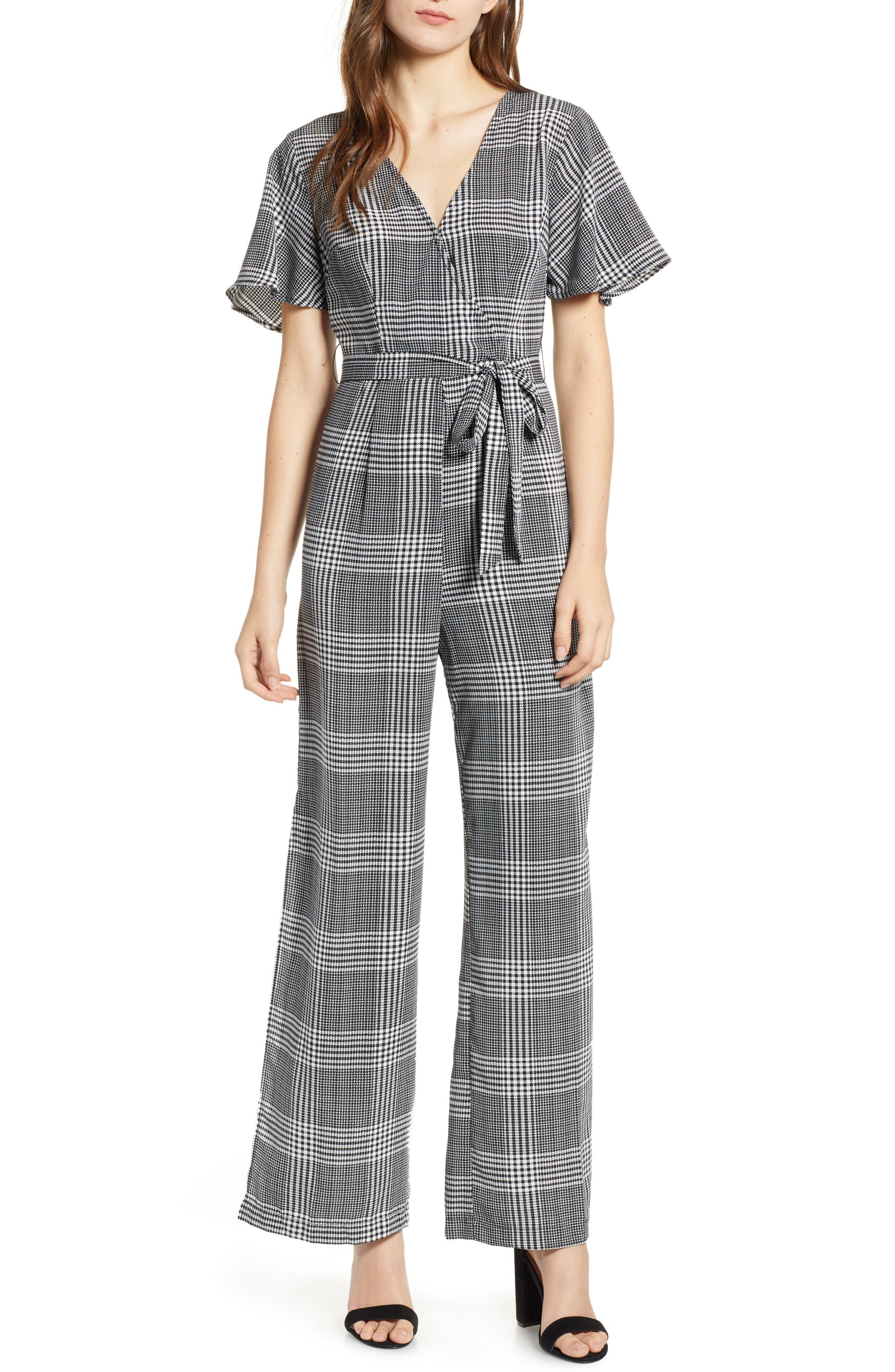 Tie Front Jumpsuit,                         Main,                         color, 001