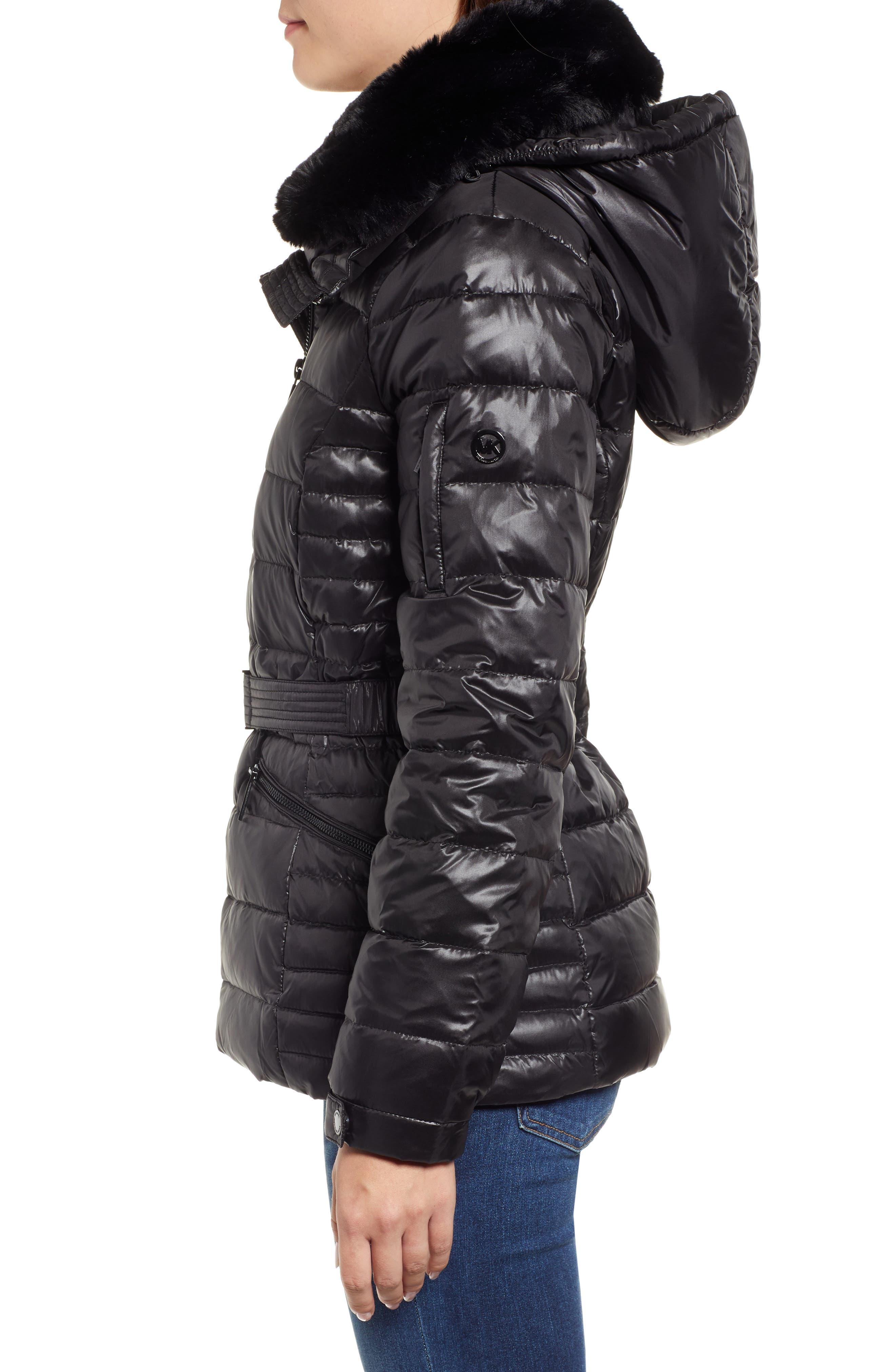 Faux Fur Puffer Jacket,                             Alternate thumbnail 3, color,                             001