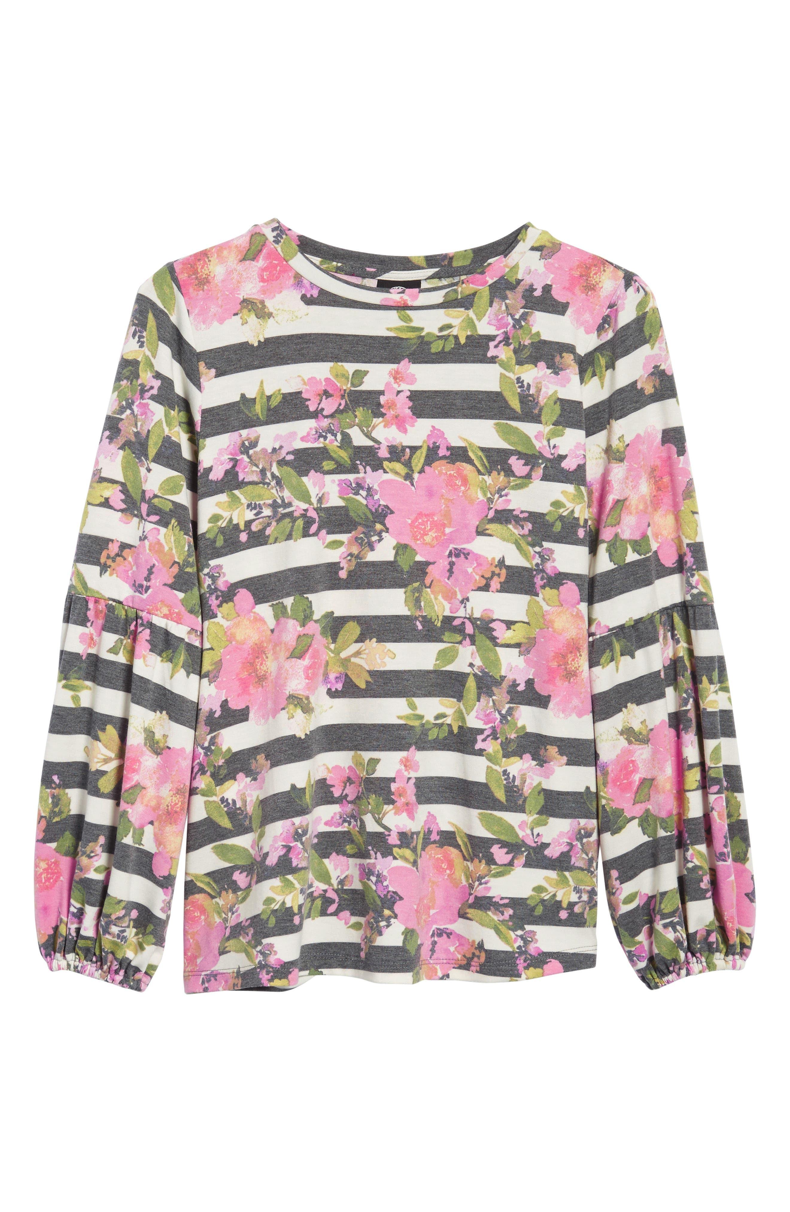 Floral Print Balloon Sleeve Sweatshirt,                             Alternate thumbnail 6, color,                             002