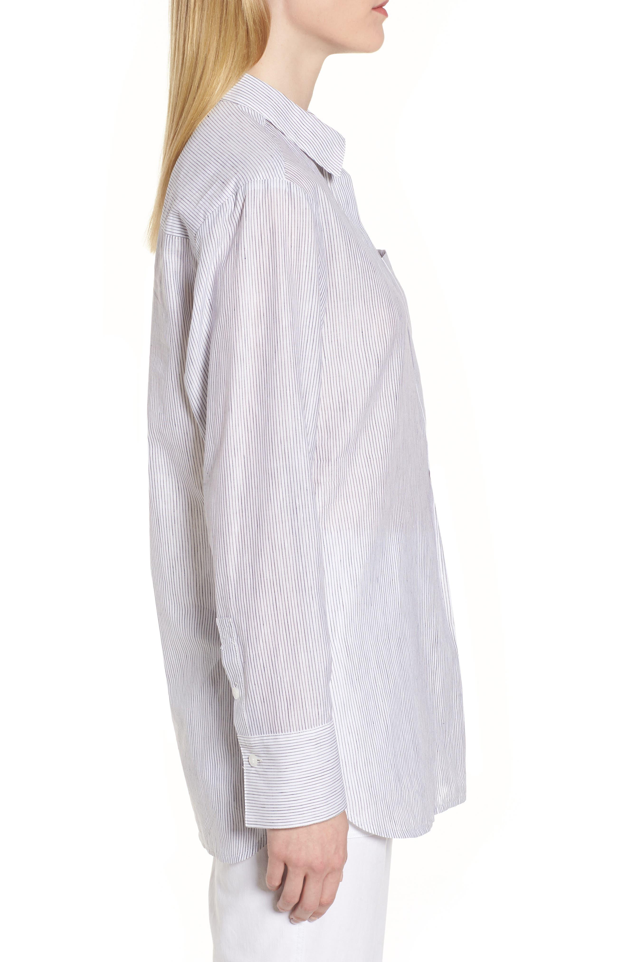 Stripe Popover Shirt,                             Alternate thumbnail 3, color,                             100
