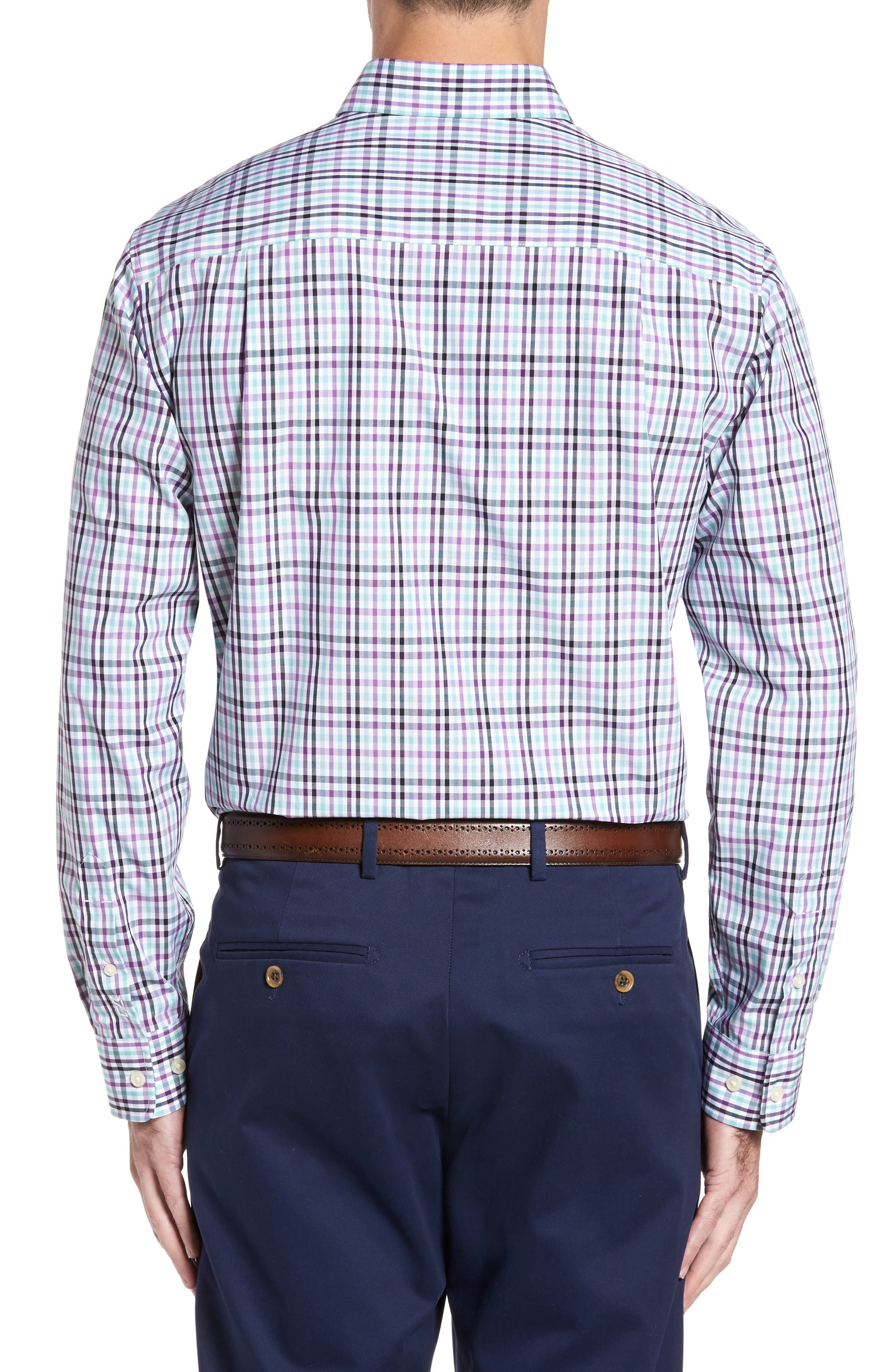 Irving Non-Iron Plaid Sport Shirt,                             Alternate thumbnail 2, color,                             522