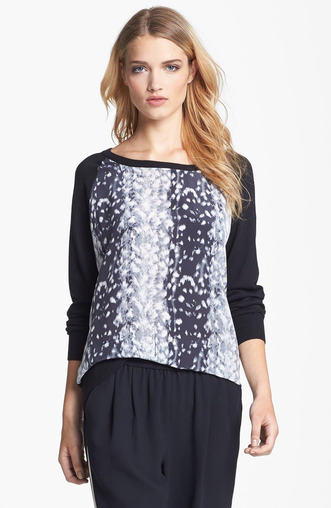 'Malena B.' Mixed Media Sweater,                             Alternate thumbnail 6, color,                             001