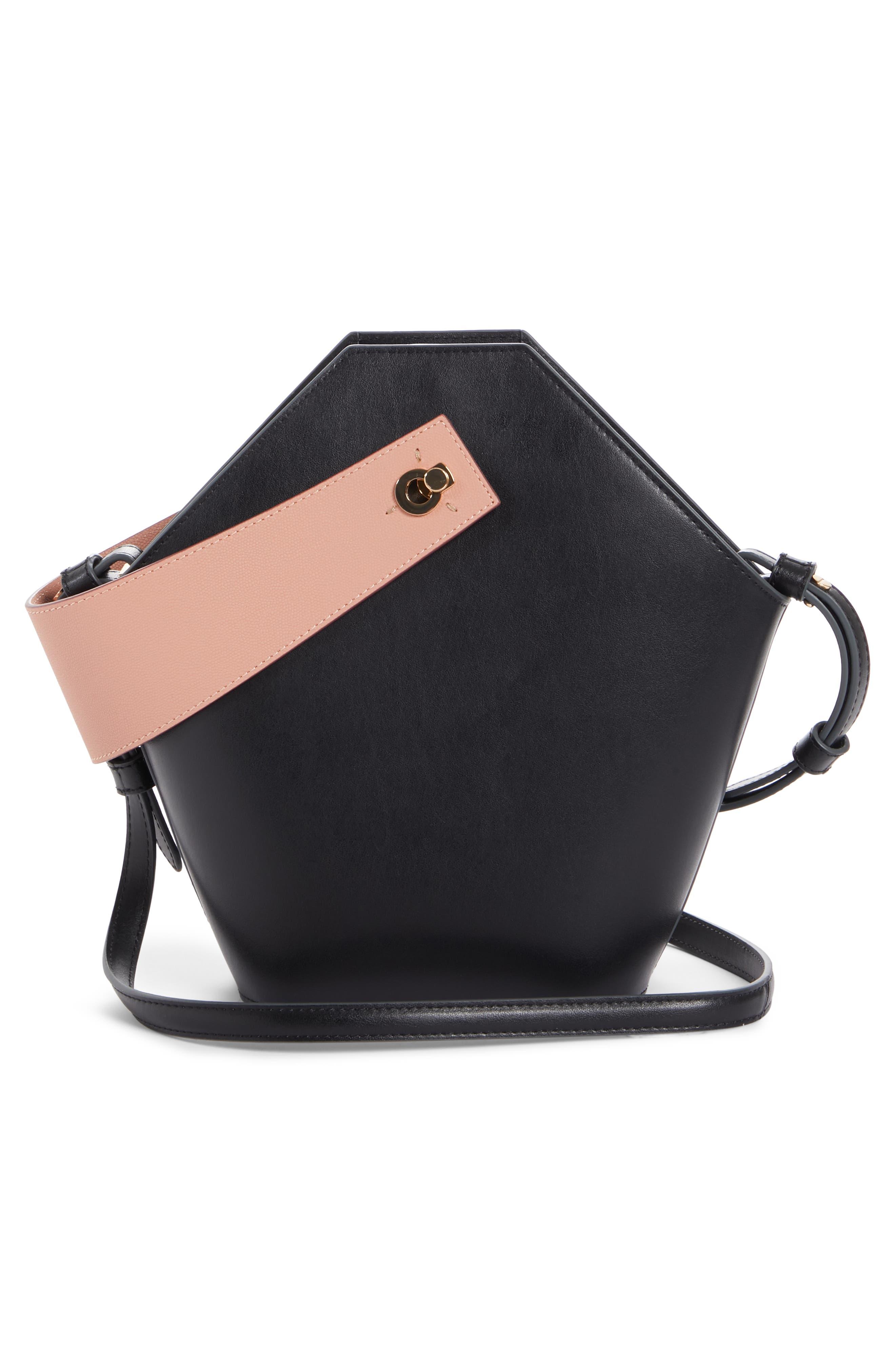 Johnny Leather Bucket Bag,                             Alternate thumbnail 3, color,                             BLACK/ BLUSH