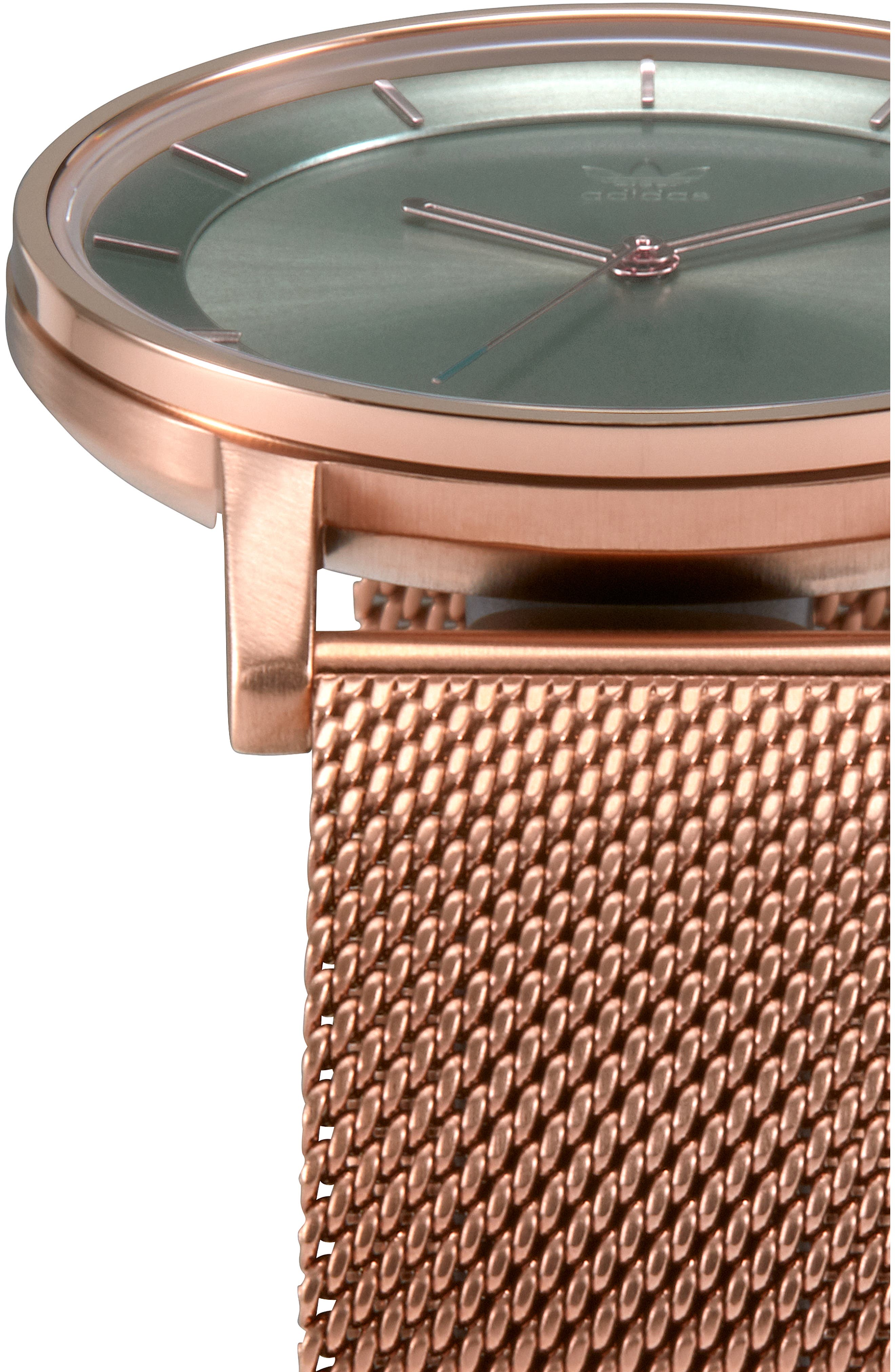 District Milanese Bracelet Watch, 40mm,                             Alternate thumbnail 5, color,                             BROWN/ GREEN/ ROSE GOLD