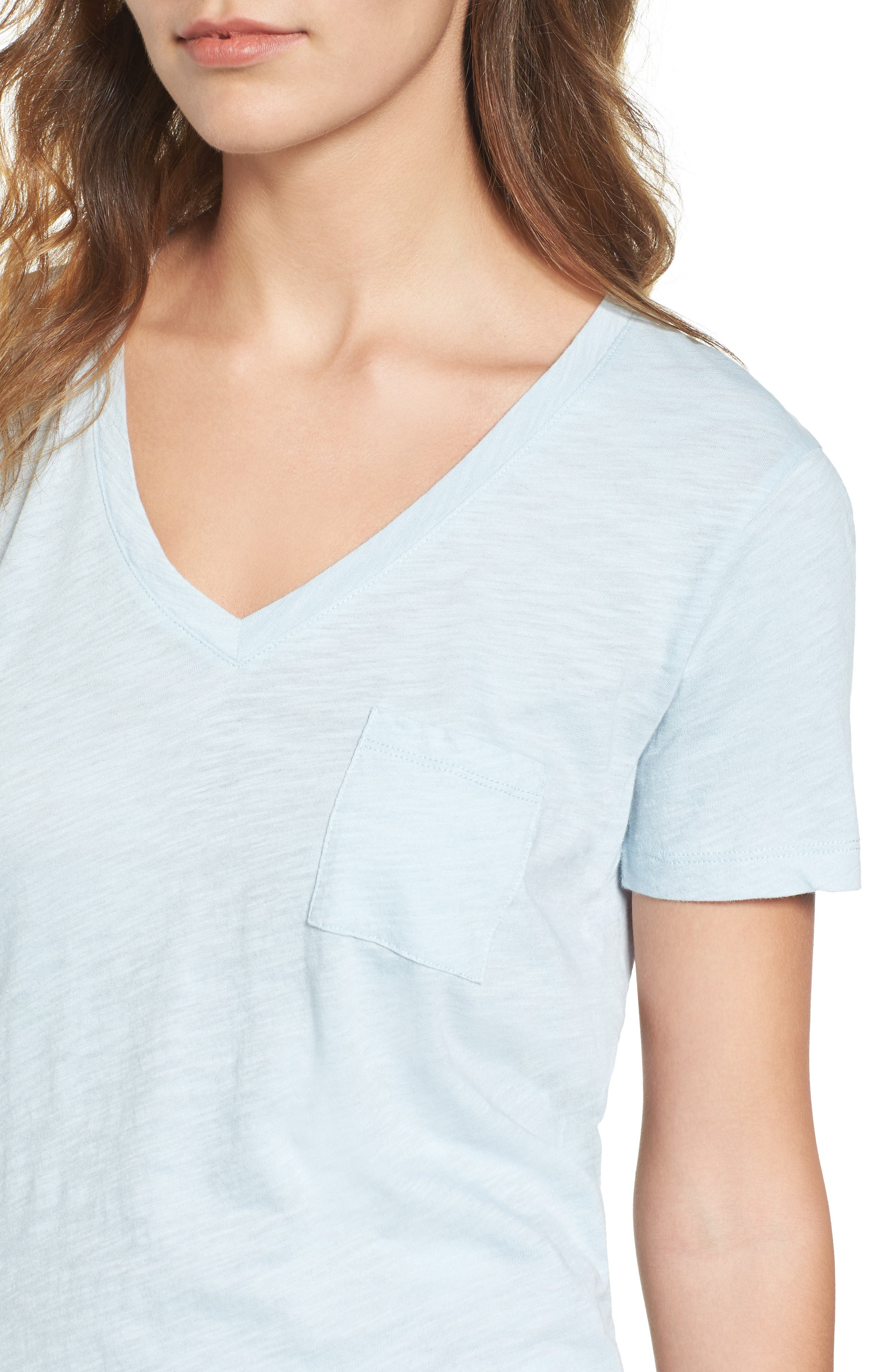 Whisper Cotton V-Neck Pocket Tee,                             Alternate thumbnail 155, color,