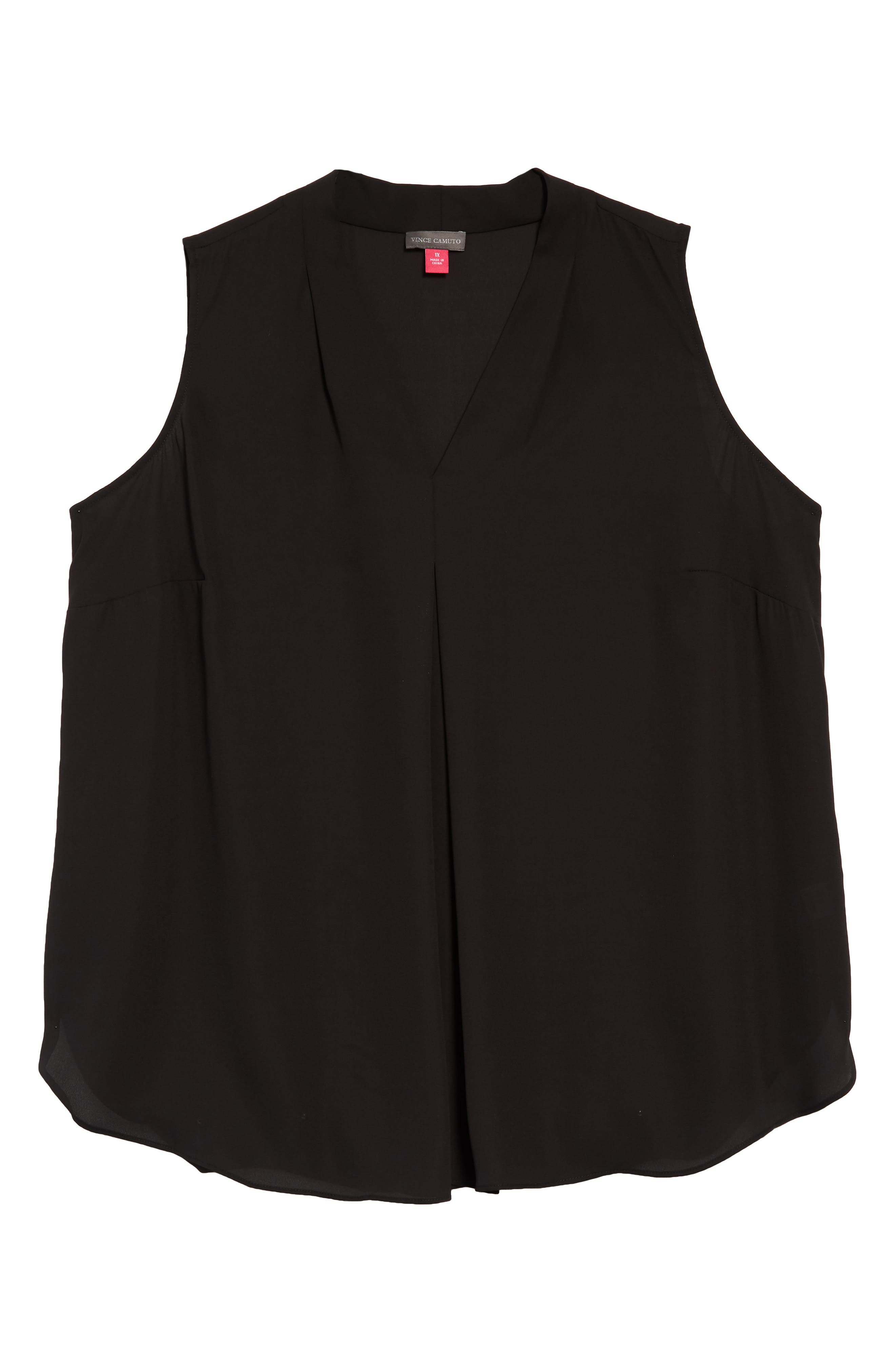 Pleat Front V-Neck Sleeveless Blouse,                         Main,                         color, 001