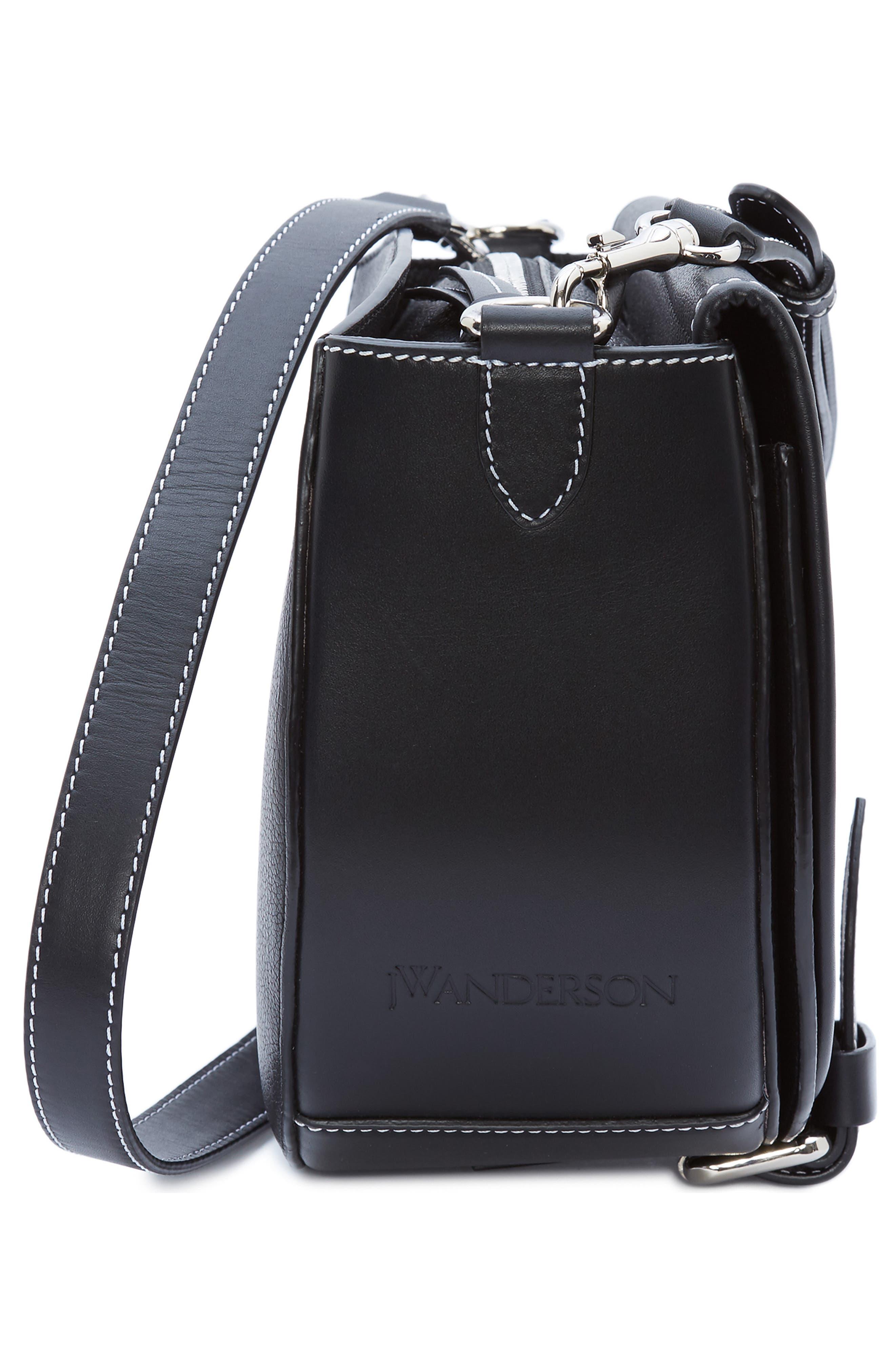 JW ANDERSON,                             Small Bike Leather Crossbody Bag,                             Alternate thumbnail 4, color,                             BLACK