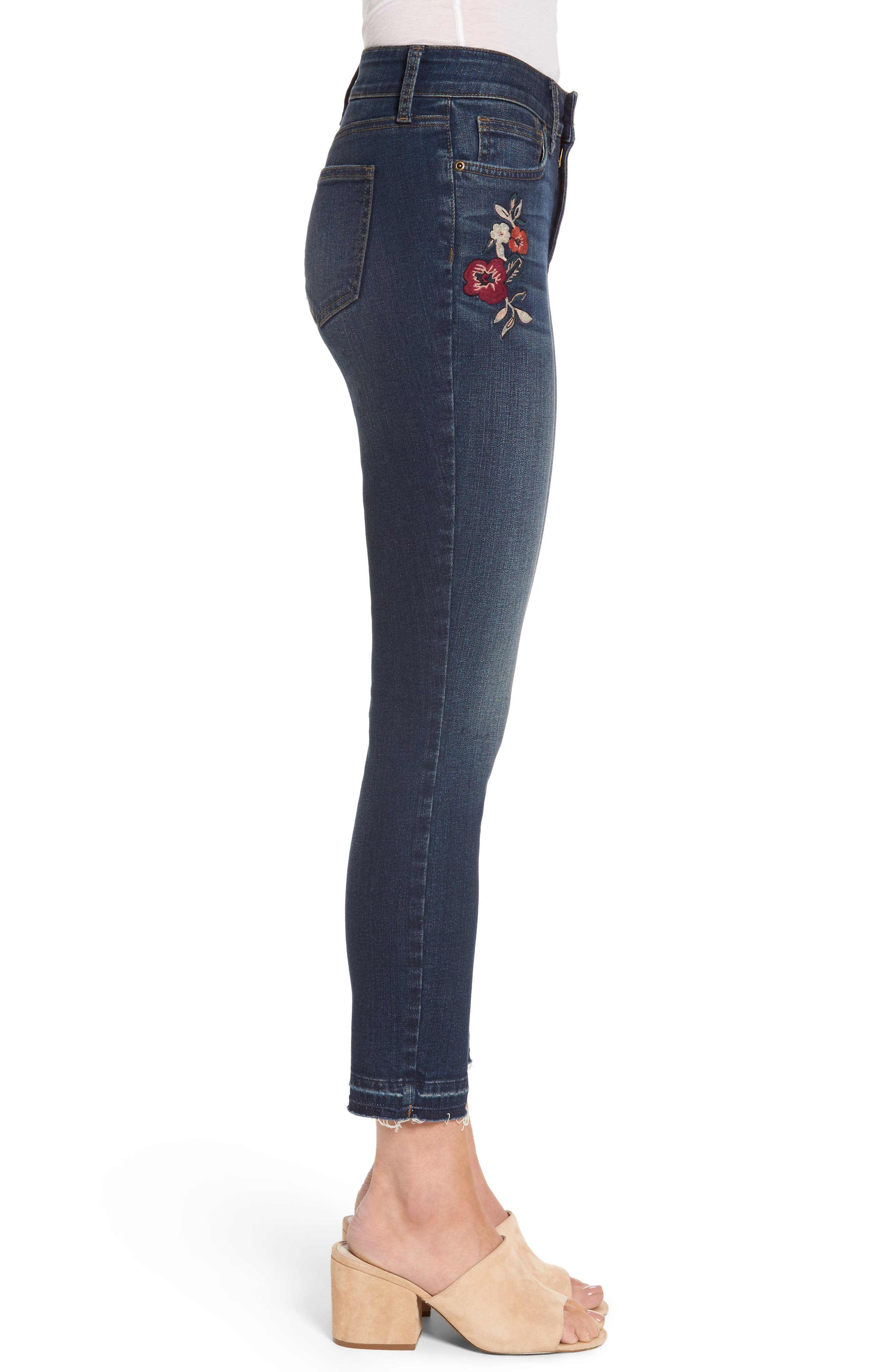 Alina Embroidered Stretch Skinny Ankle Jeans,                             Alternate thumbnail 3, color,                             421