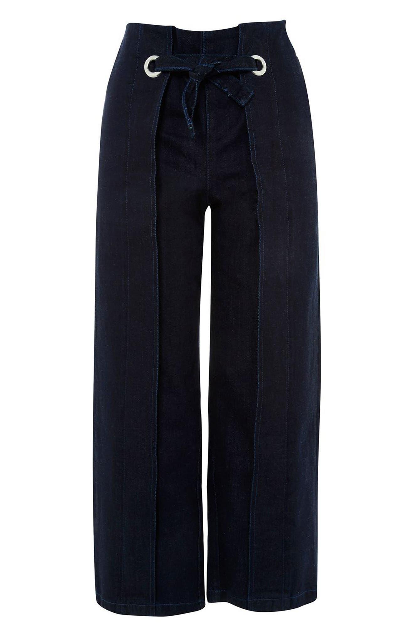 Tie Front Wide Leg Crop Jeans,                             Alternate thumbnail 3, color,                             400