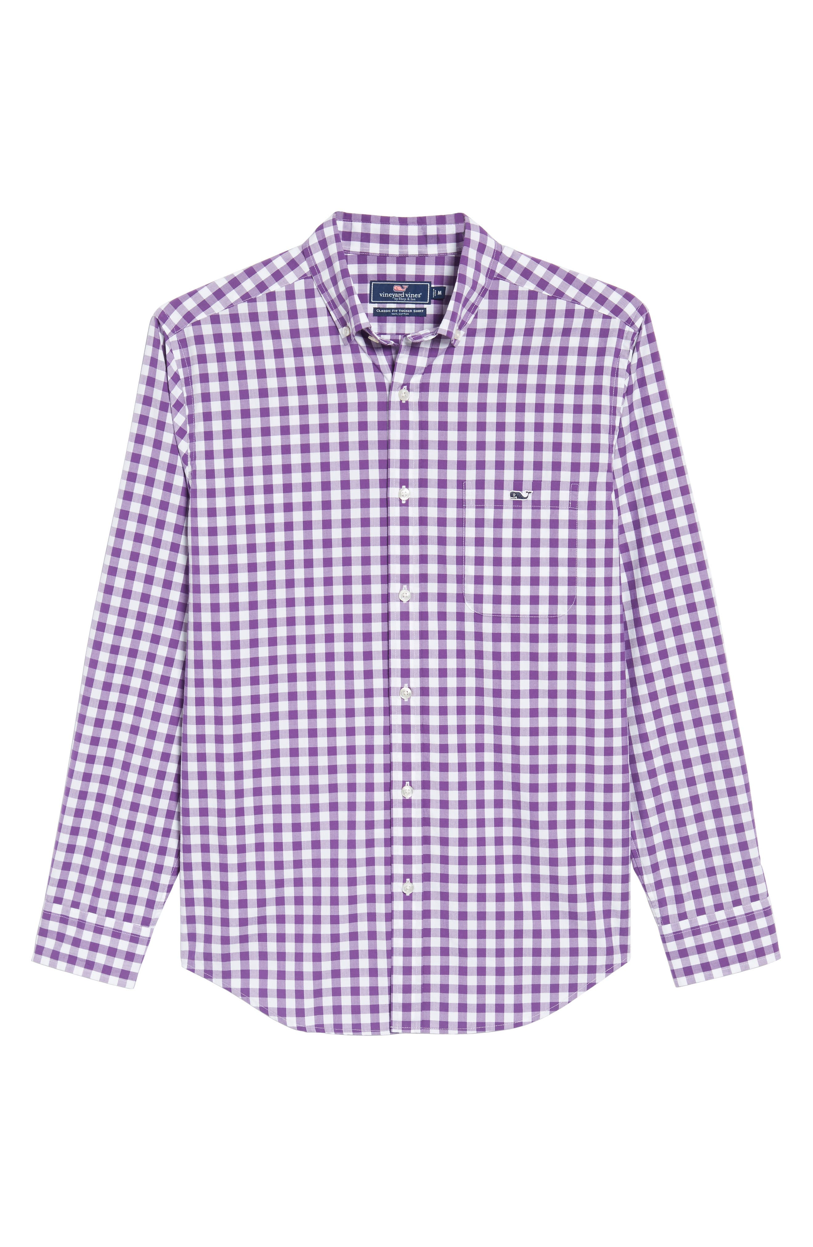 Classic Fit Tucker Garter Gingham Sport Shirt,                             Alternate thumbnail 6, color,