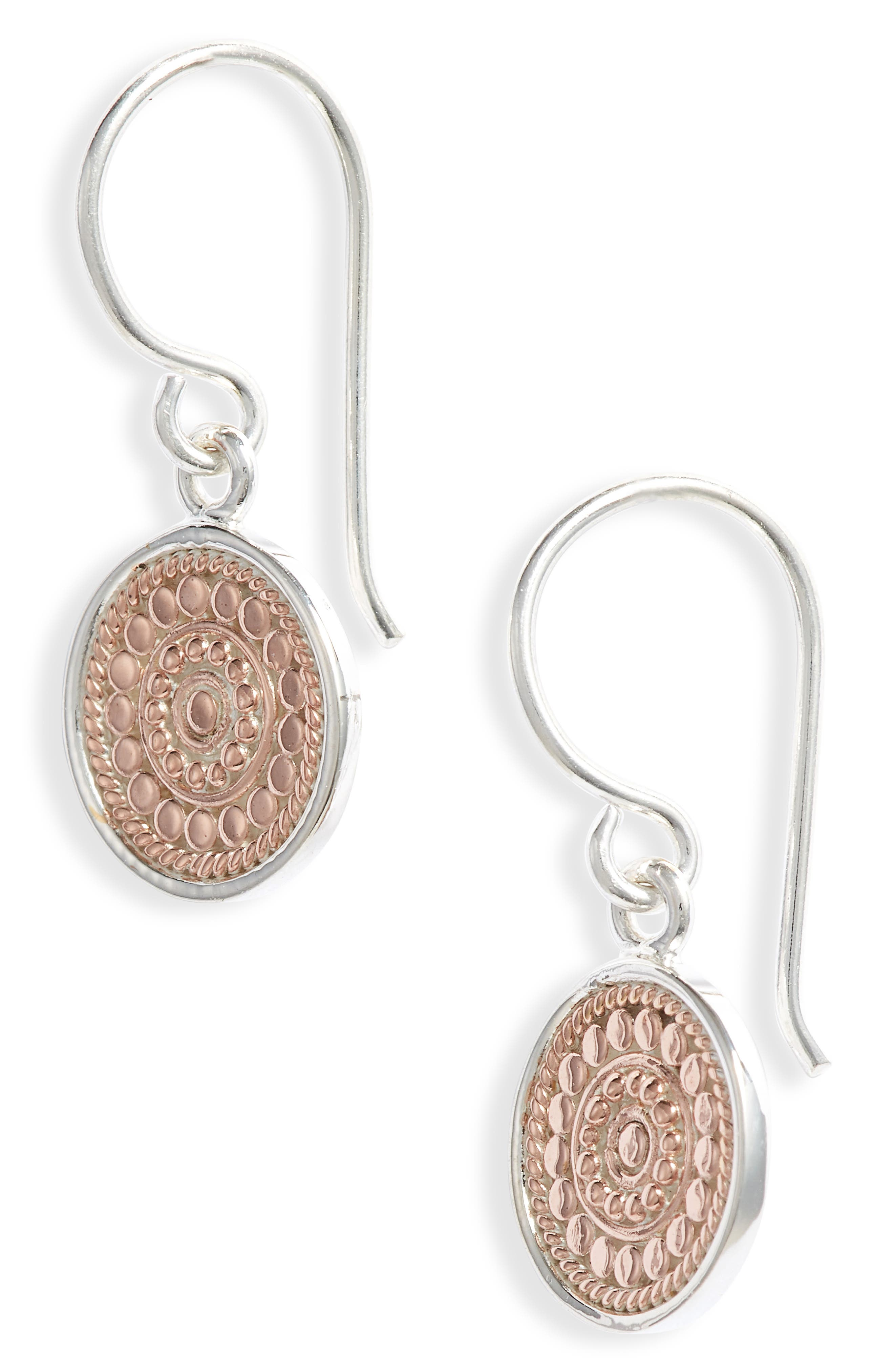 ANNA BECK Circle Drop Earrings in Rose Gold/ Silver