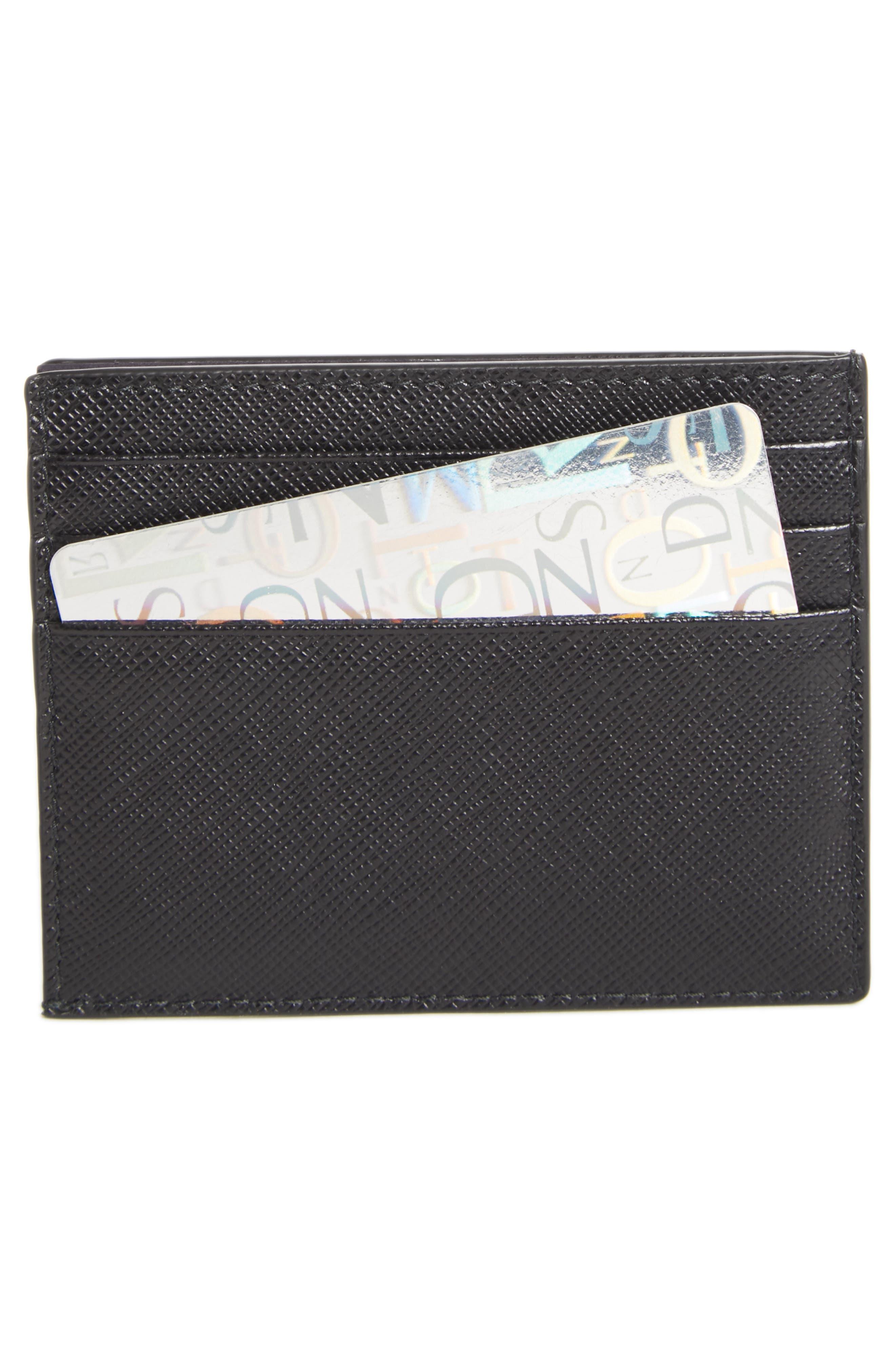Logo Saffiano Leather Card Case,                             Alternate thumbnail 2, color,                             BLACK