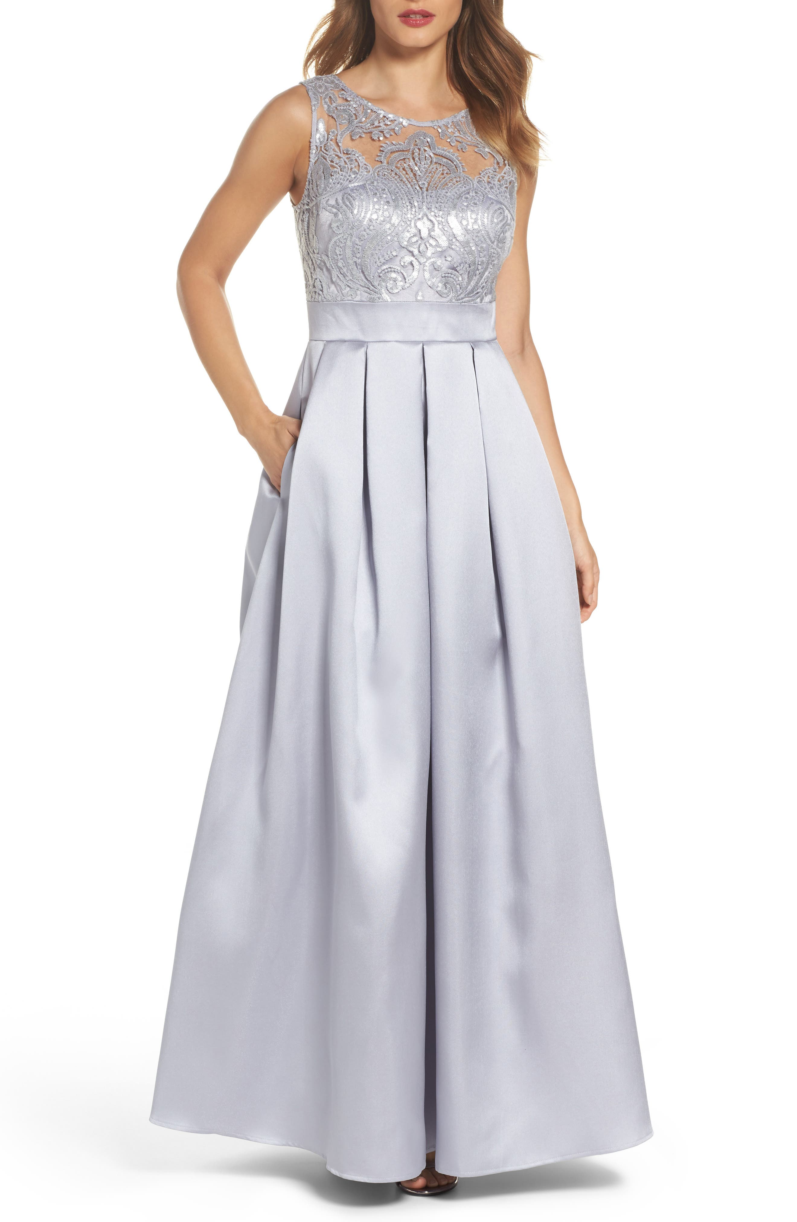 Sequin Embellished Illusion Neck Gown,                             Main thumbnail 1, color,                             040