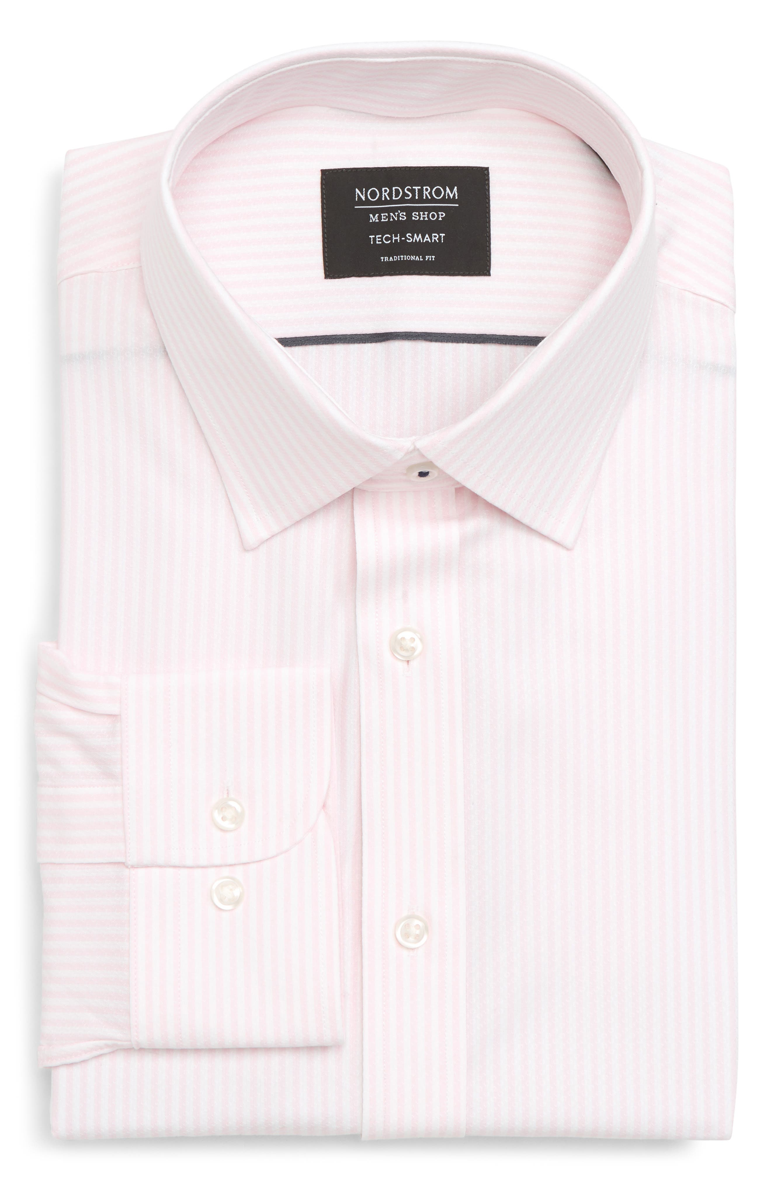 Tech-Smart Traditional Fit Stripe Stretch Dress Shirt,                             Alternate thumbnail 15, color,