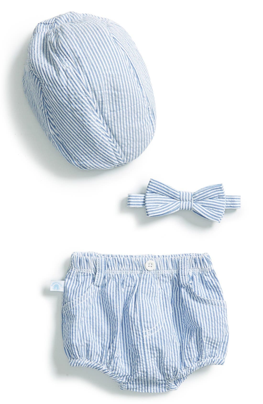 RuggedButts Seersucker Hat, Diaper Cover & Bow Tie, Main, color, 400