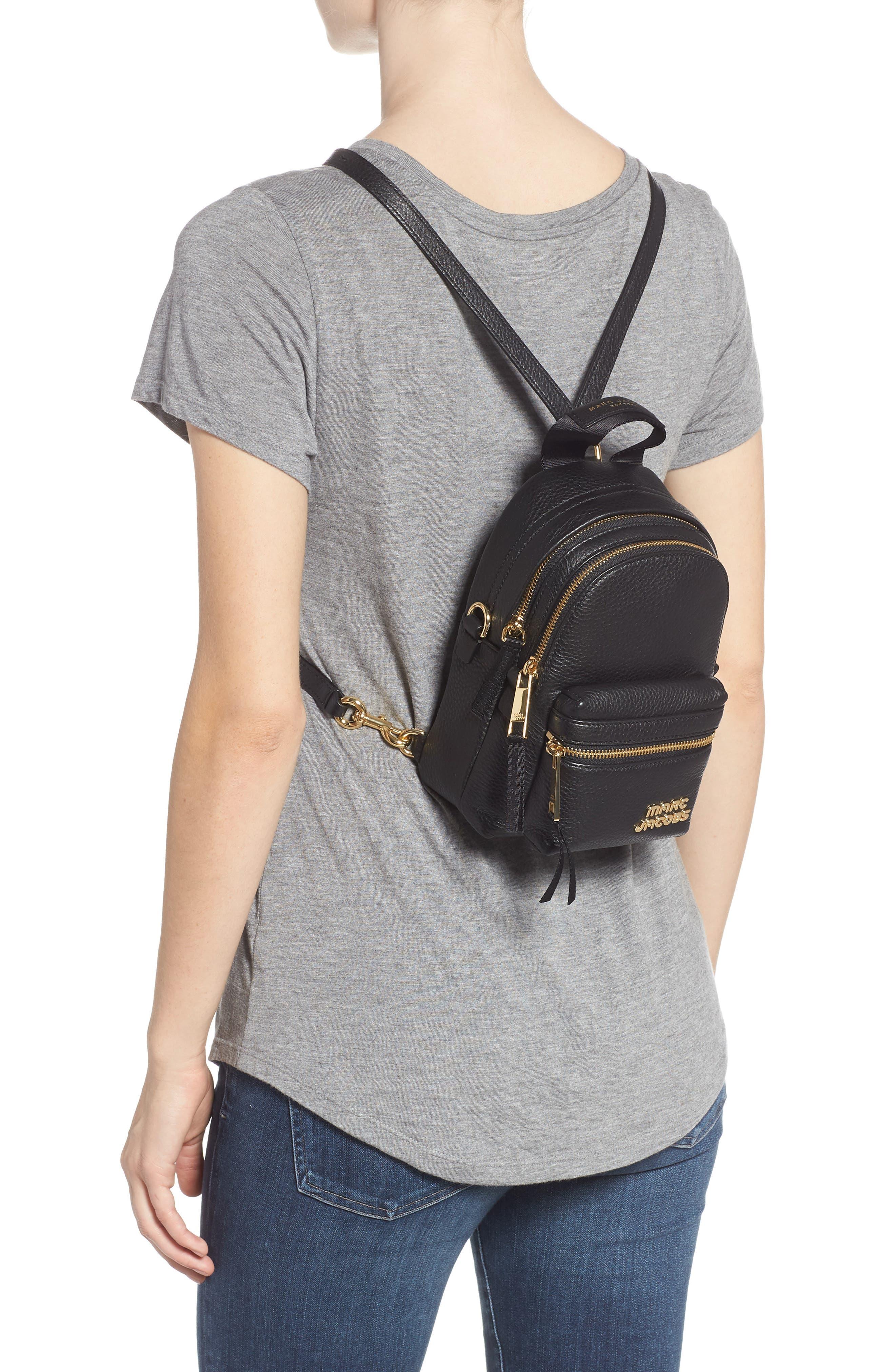 Mini Trek Leather Backpack,                             Alternate thumbnail 2, color,                             BLACK