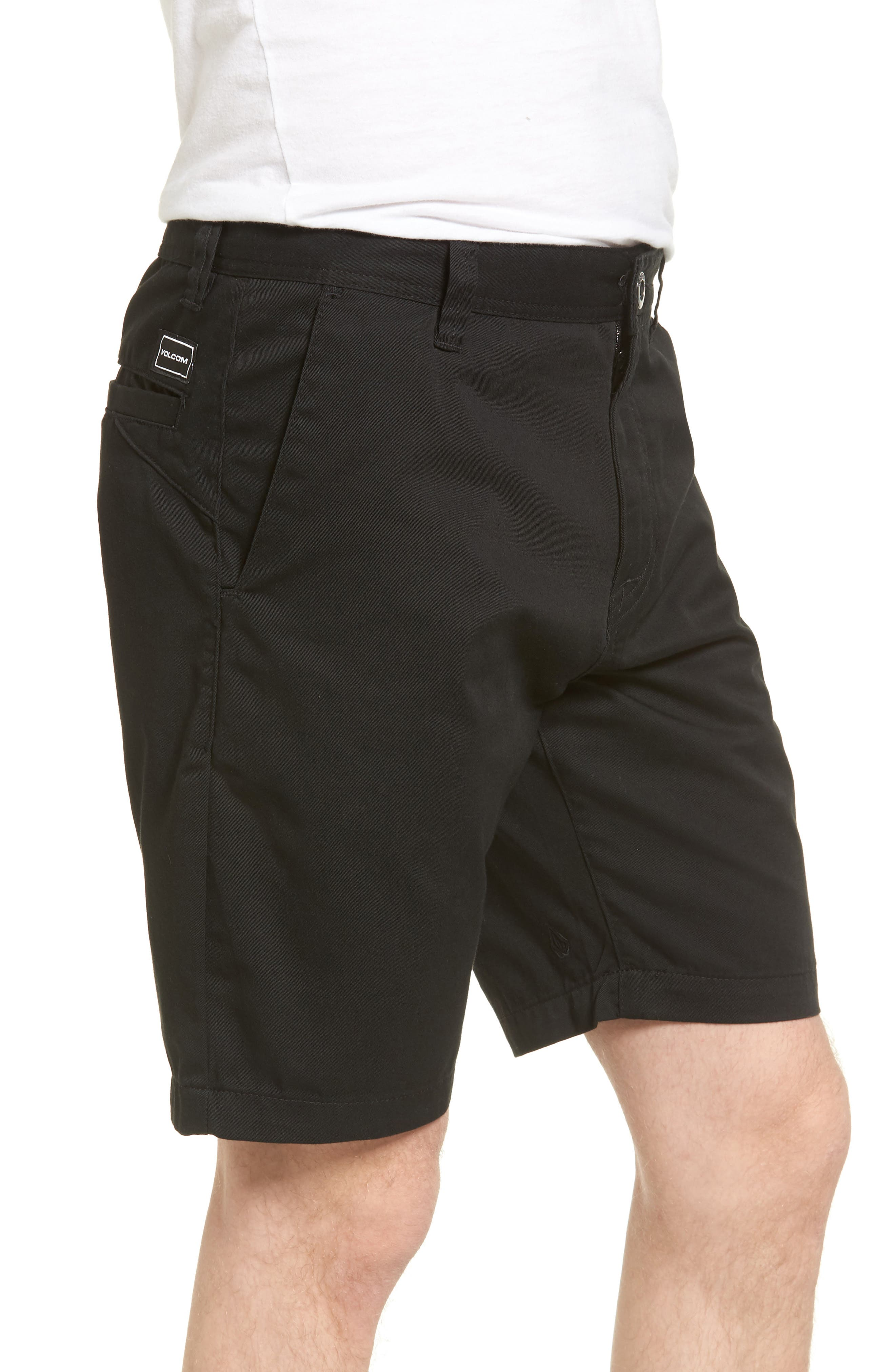 Modern Chino Shorts,                             Alternate thumbnail 3, color,                             BLACK