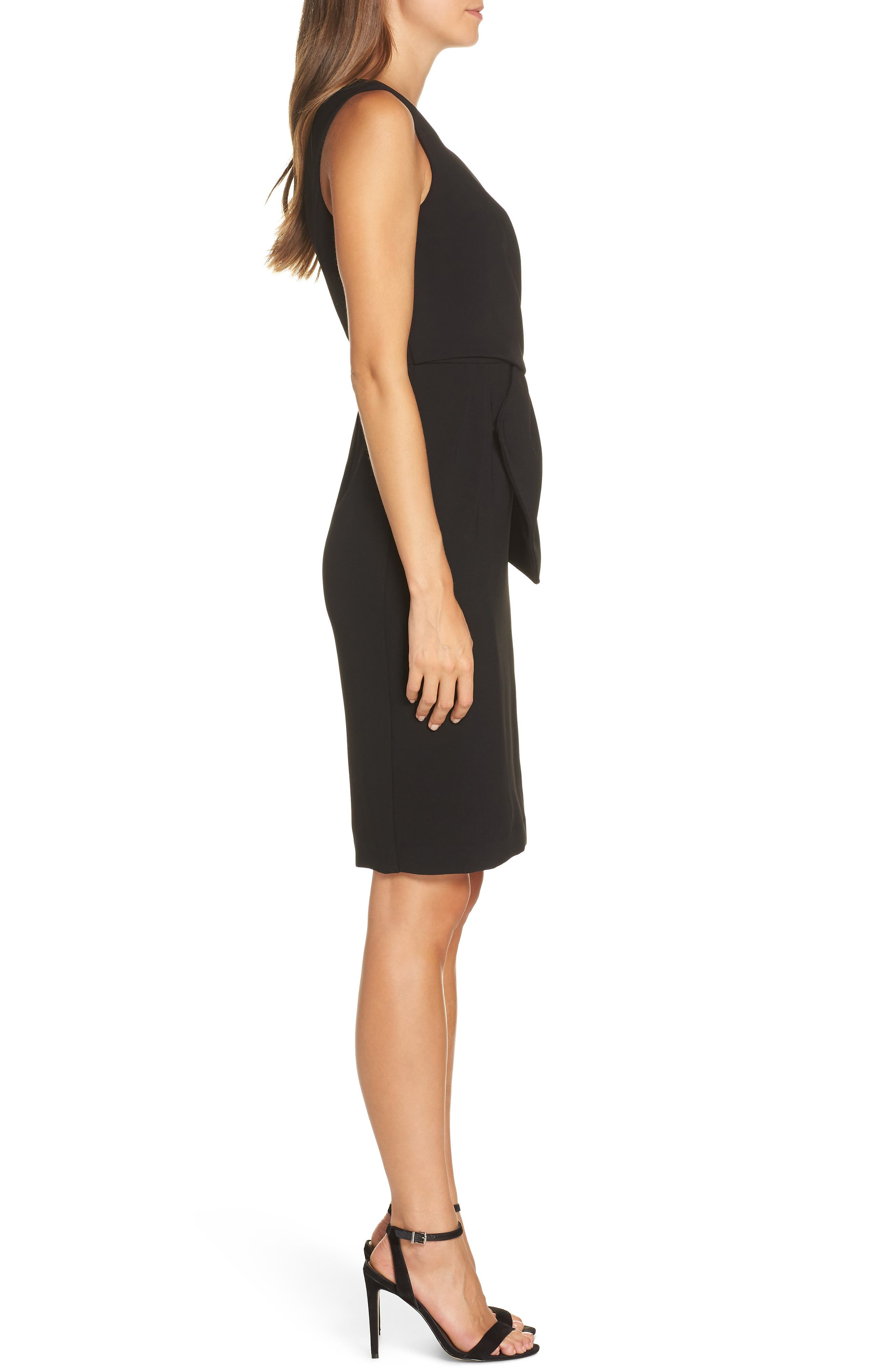 Faux Wrap Sheath Dress,                             Alternate thumbnail 3, color,                             BLACK