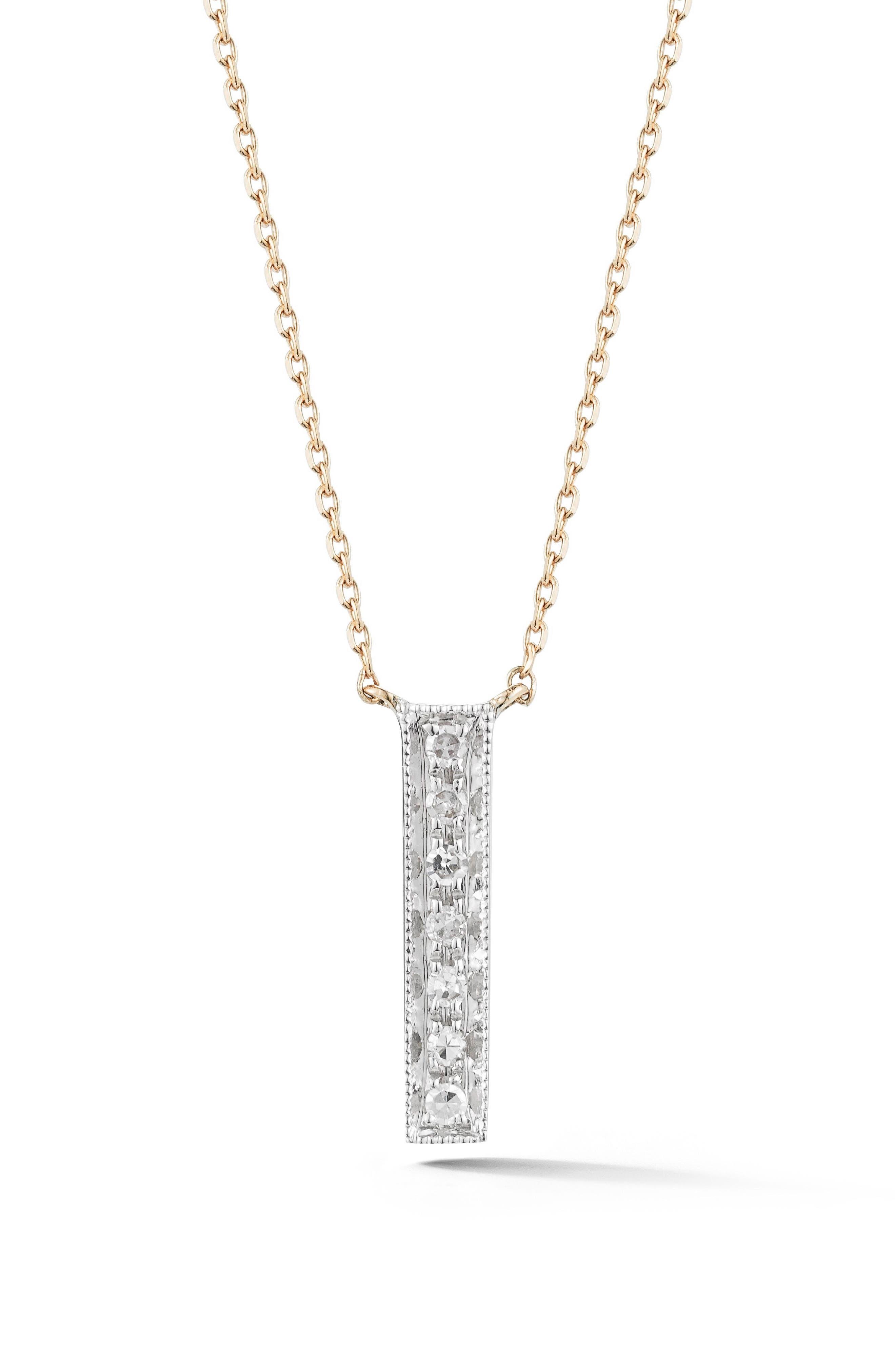 Sylvie Rose Vertical Bar Diamond Pendant Necklace,                             Main thumbnail 1, color,                             YELLOW GOLD