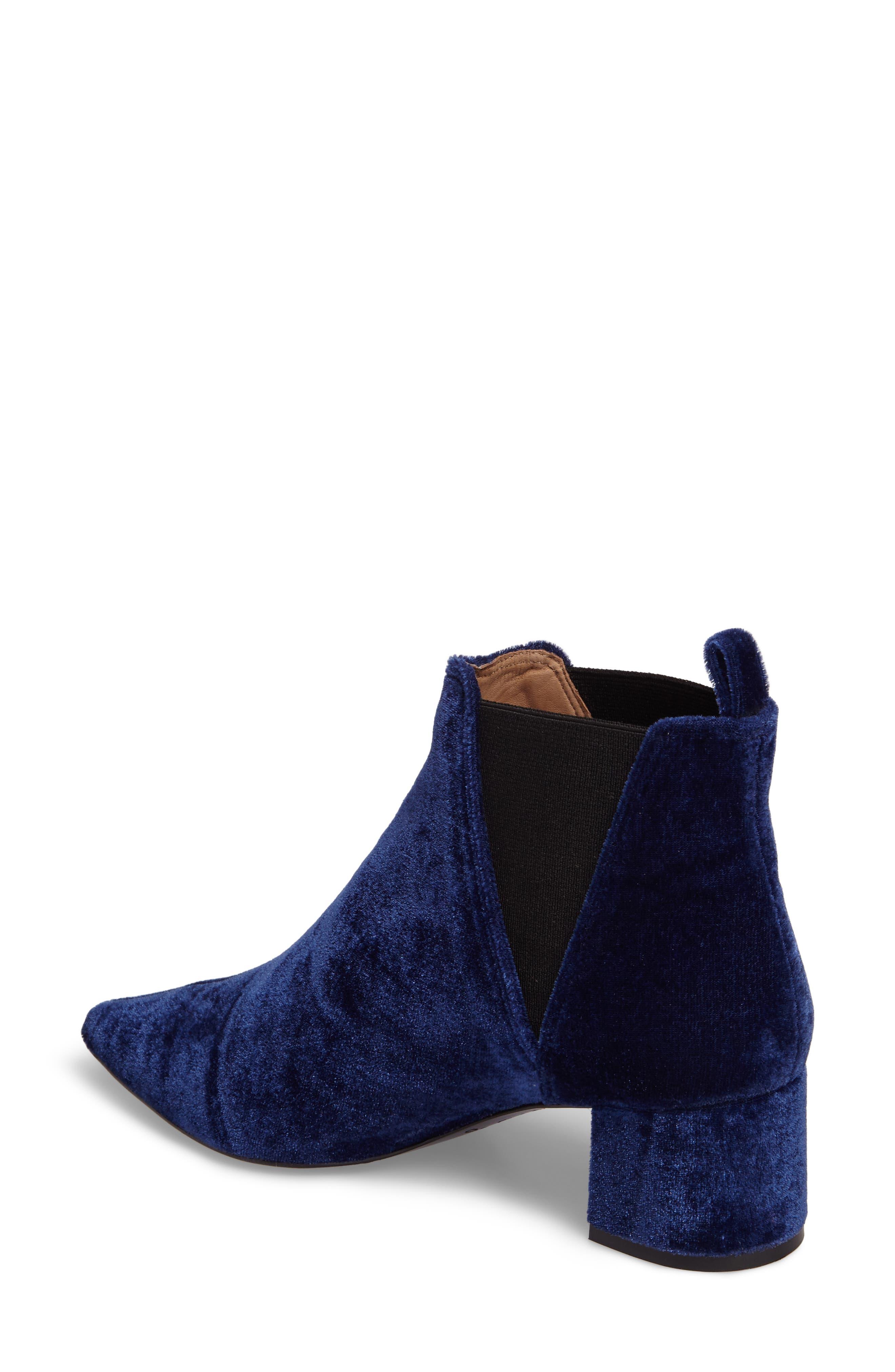 Renita Pointy Toe Chelsea Bootie,                             Alternate thumbnail 2, color,                             BLUE VELVET FABRIC