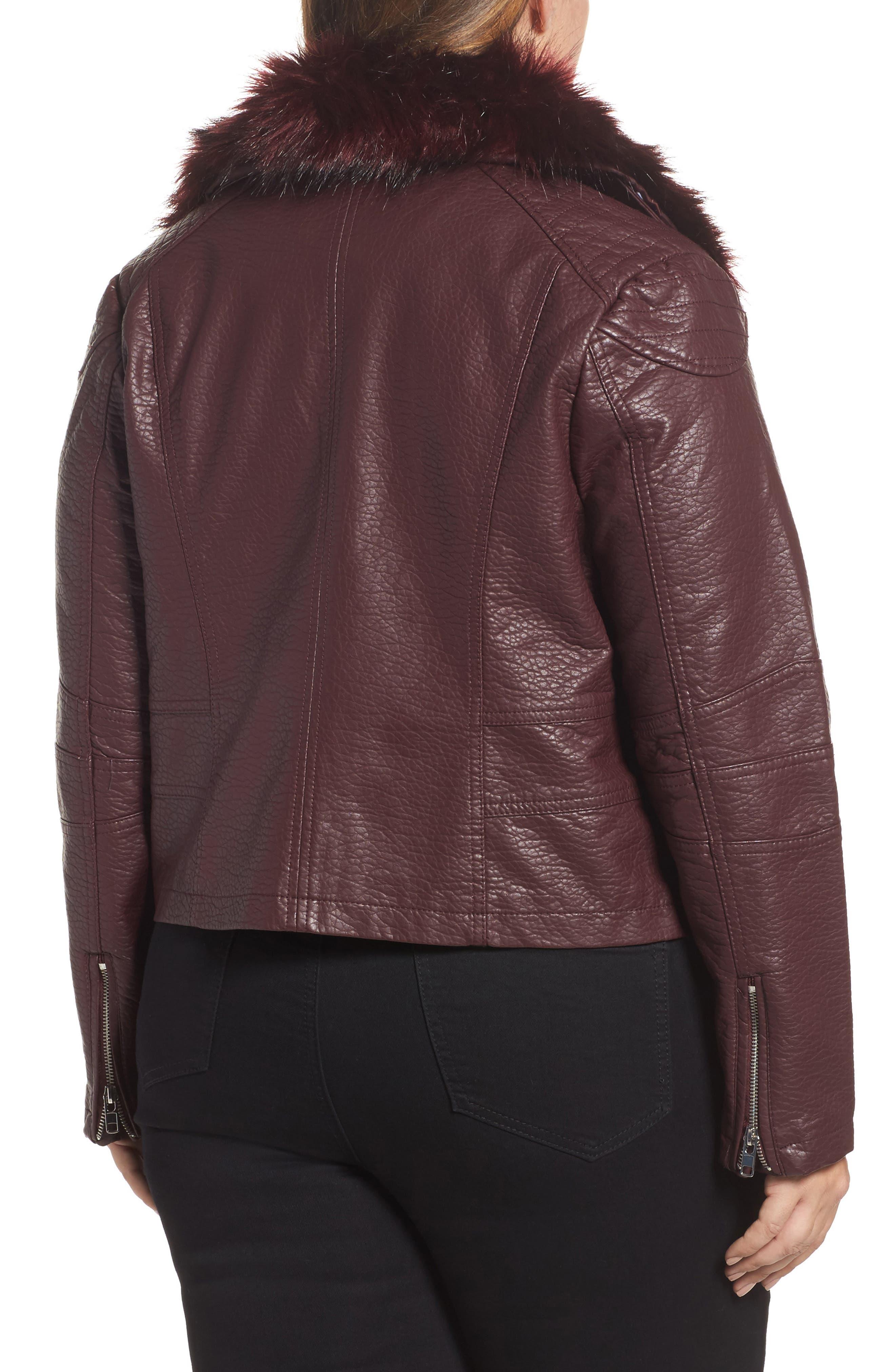 Faux Fur Trim Moto Jacket,                             Alternate thumbnail 2, color,                             601