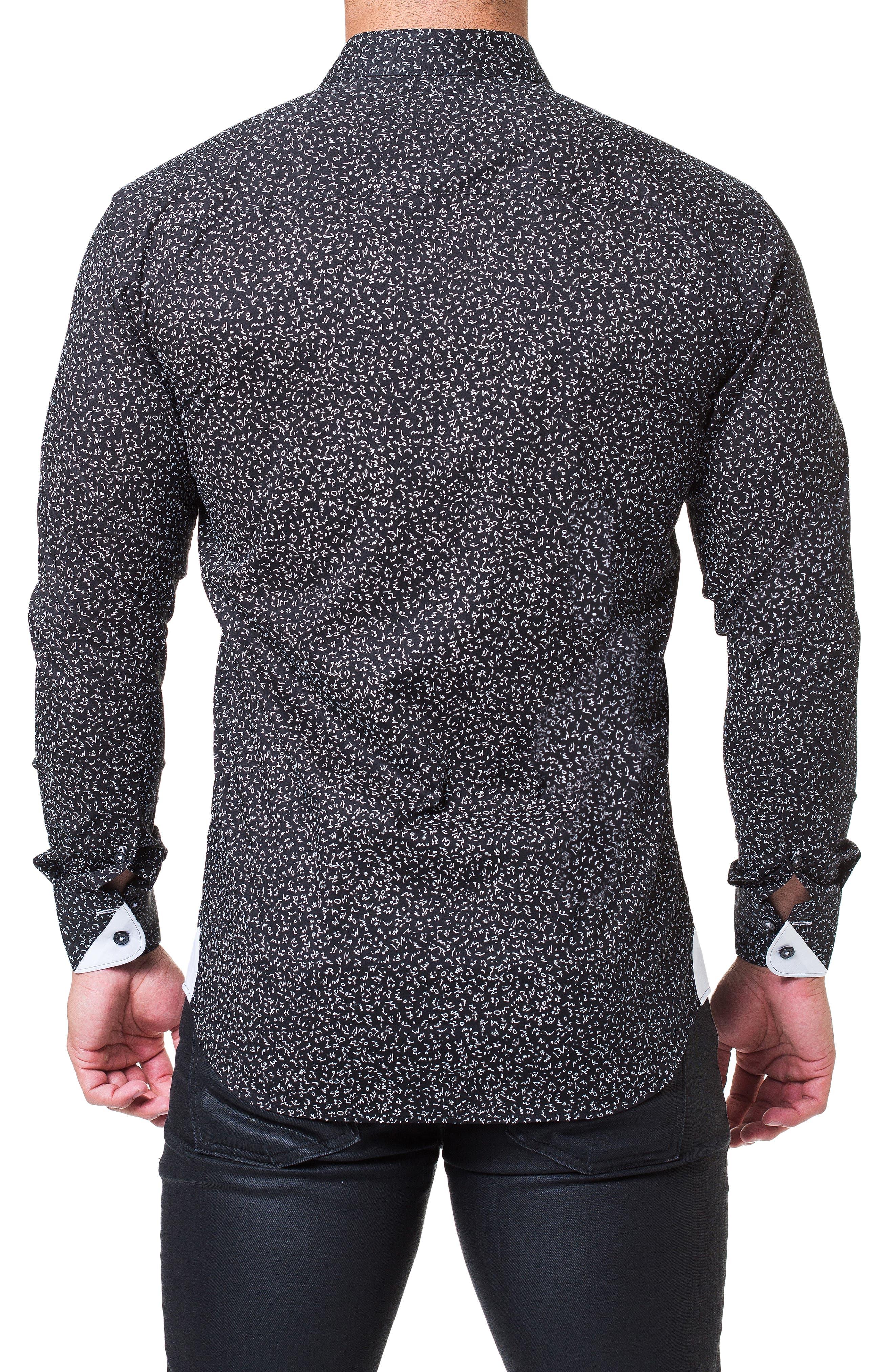 Einstein Abstract Regular Fit Sport Shirt,                             Alternate thumbnail 2, color,                             BLACK