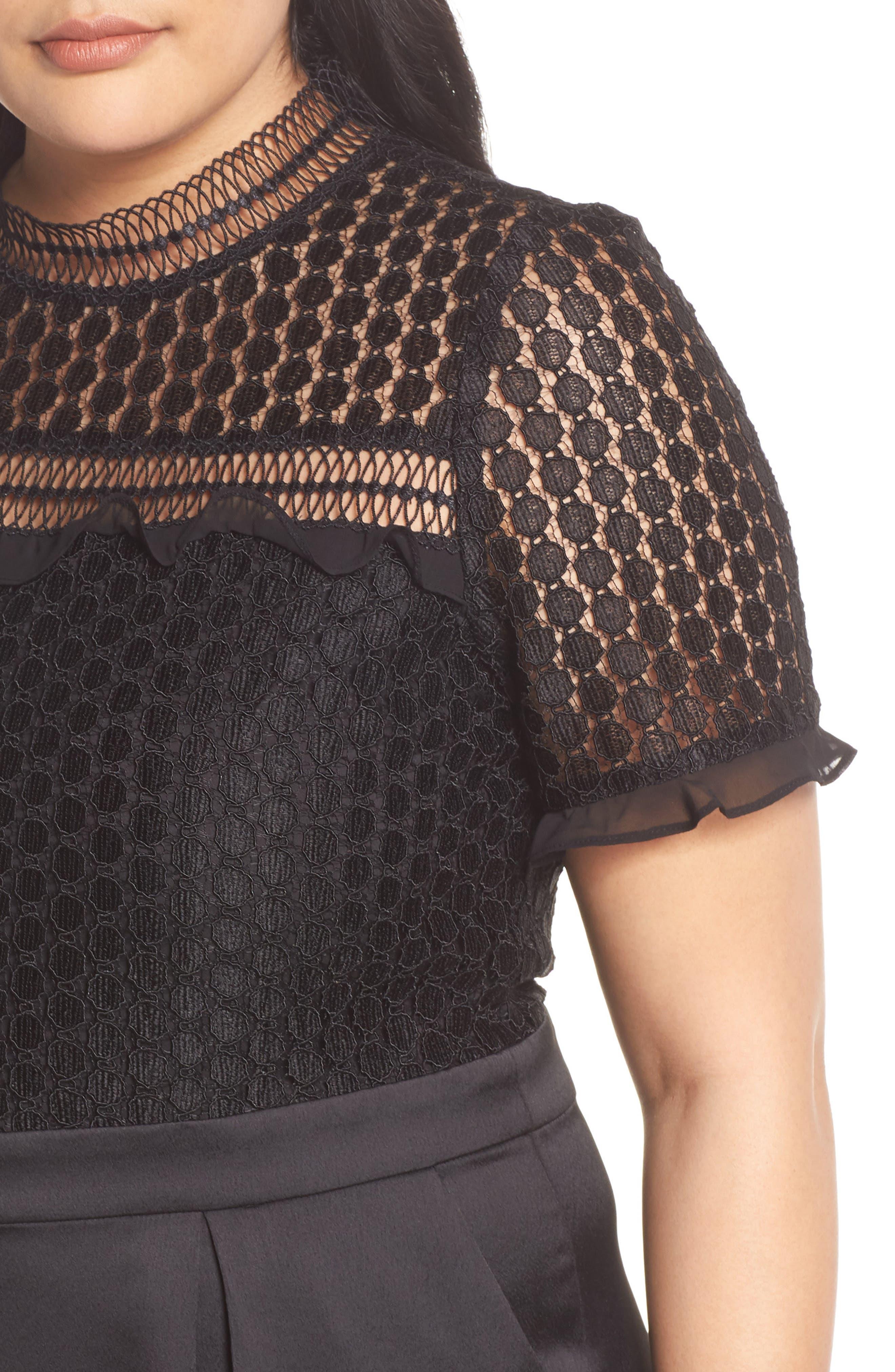 Lace Crop Jumpsuit,                             Alternate thumbnail 4, color,                             BLACK