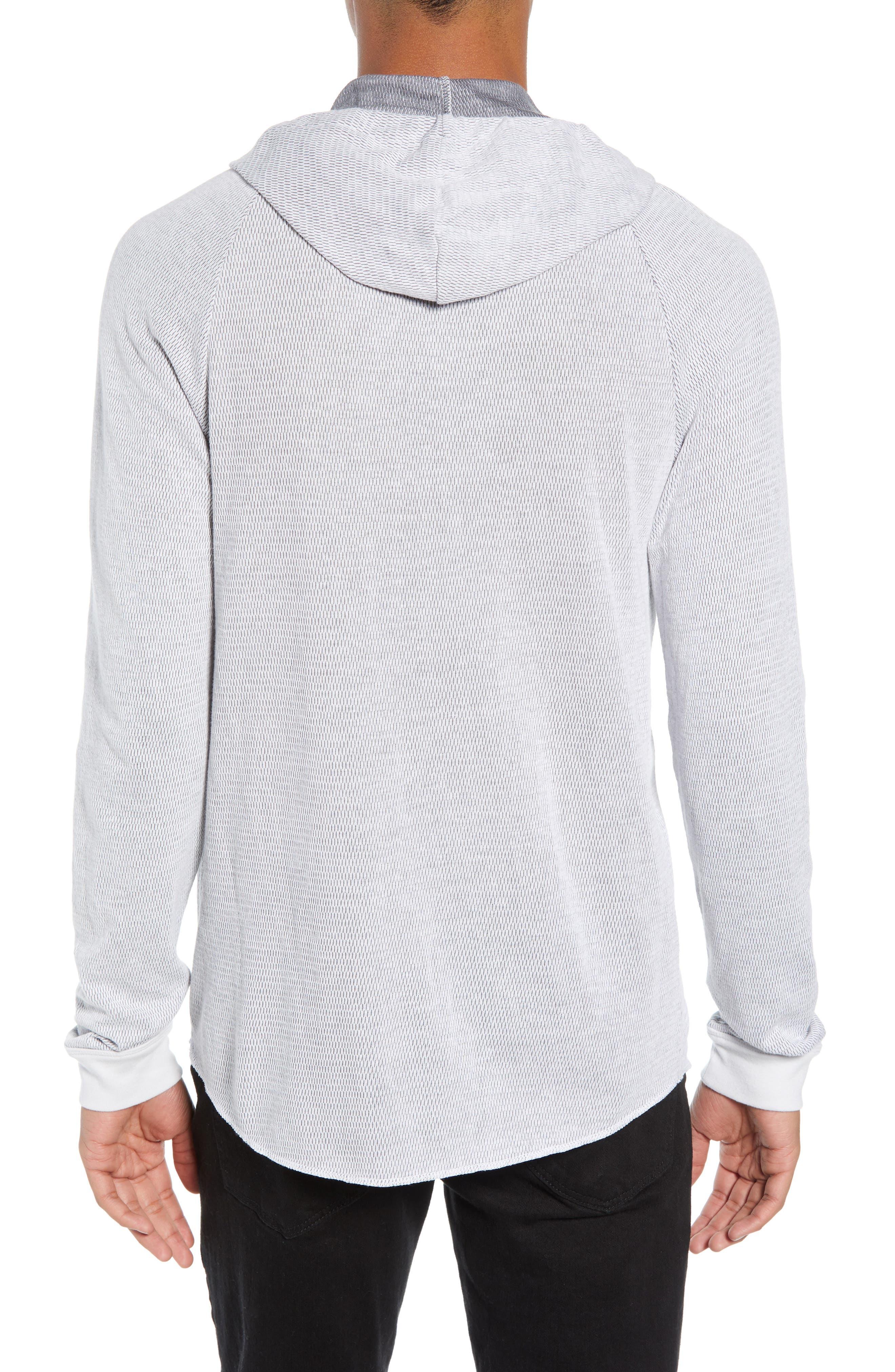 Thermal Knit Raglan Hoodie,                             Alternate thumbnail 2, color,                             GREY/ WHITE TWO TONE