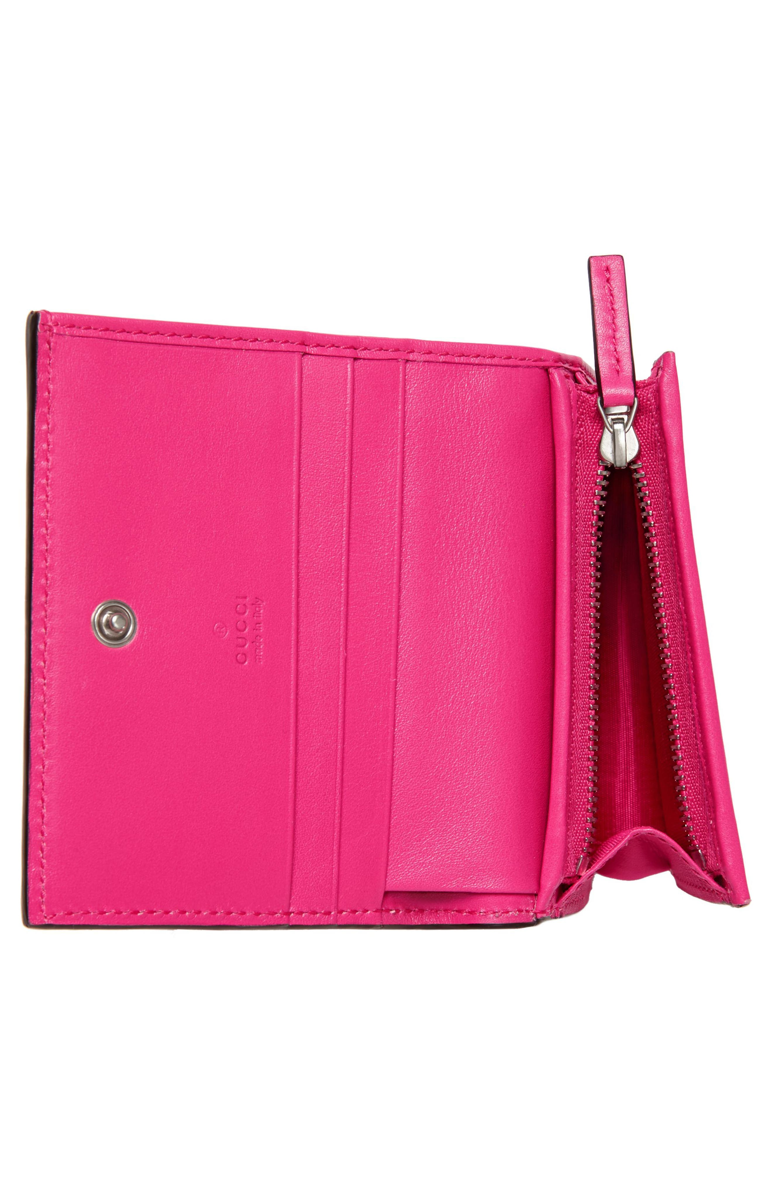 Guccy Logo Moon & Stars Leather Flap Card Case,                             Alternate thumbnail 4, color,                             BRIGHT FUCSIA ORO