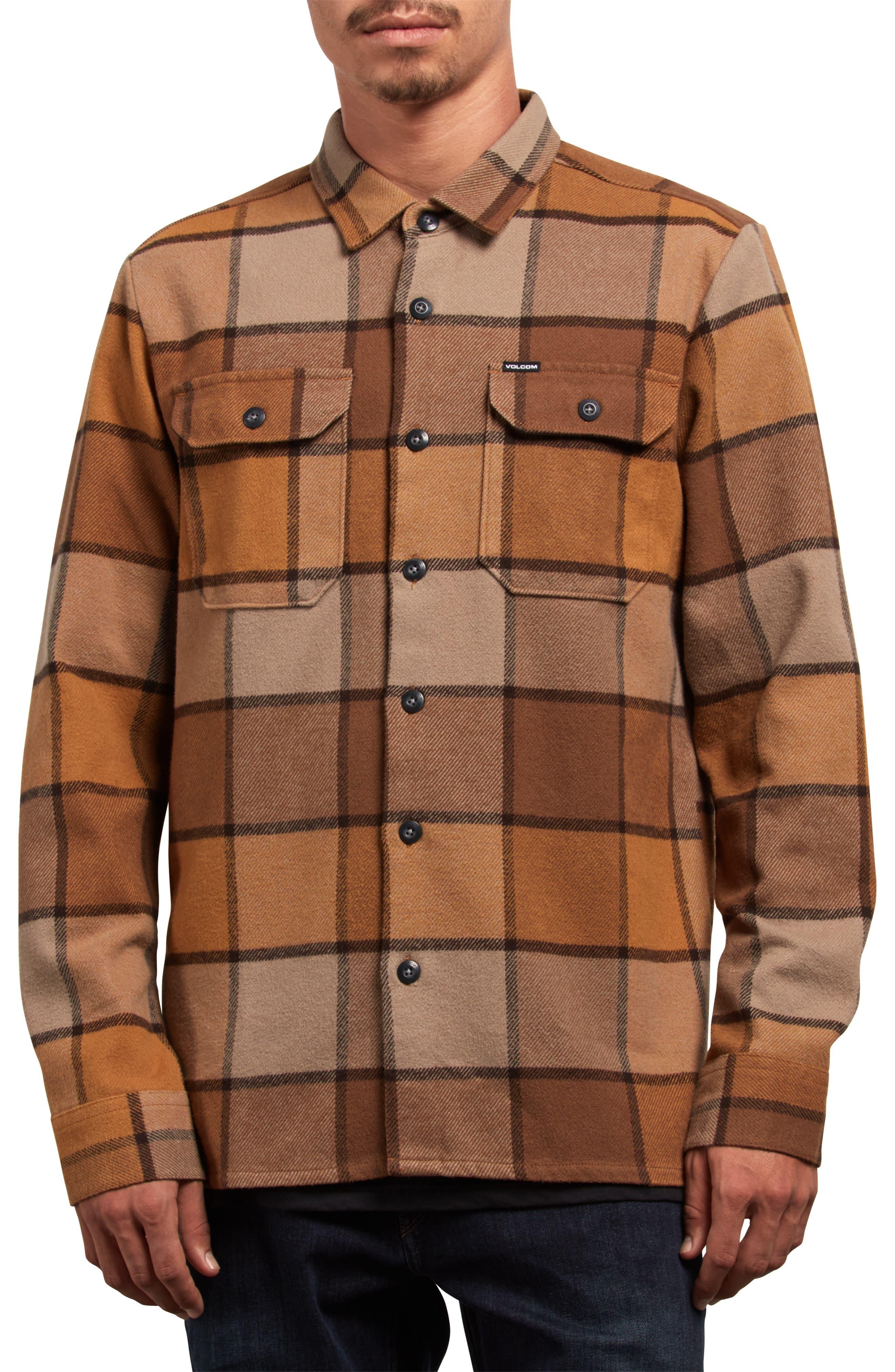 Randower Plaid Flannel Shirt,                         Main,                         color, MUD