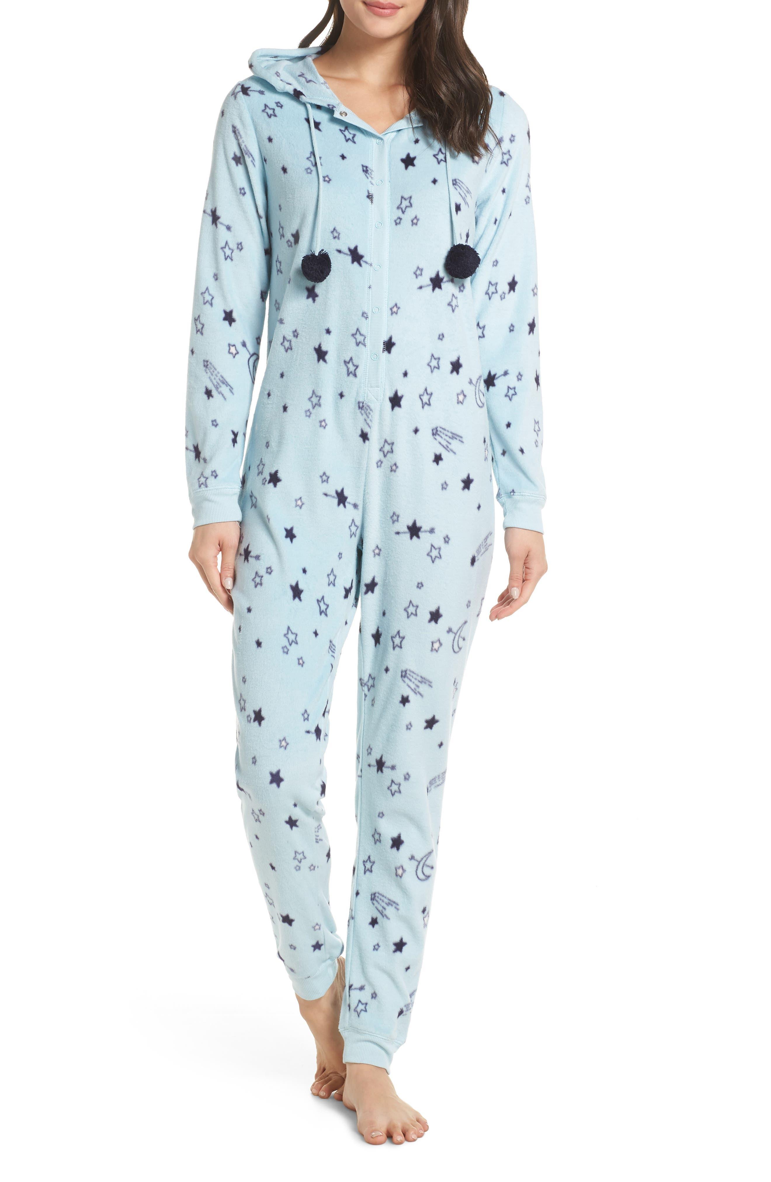Hooded Pajama Jumpsuit,                             Main thumbnail 1, color,                             BLUE OMPHALODES SHOOT 4 STARS