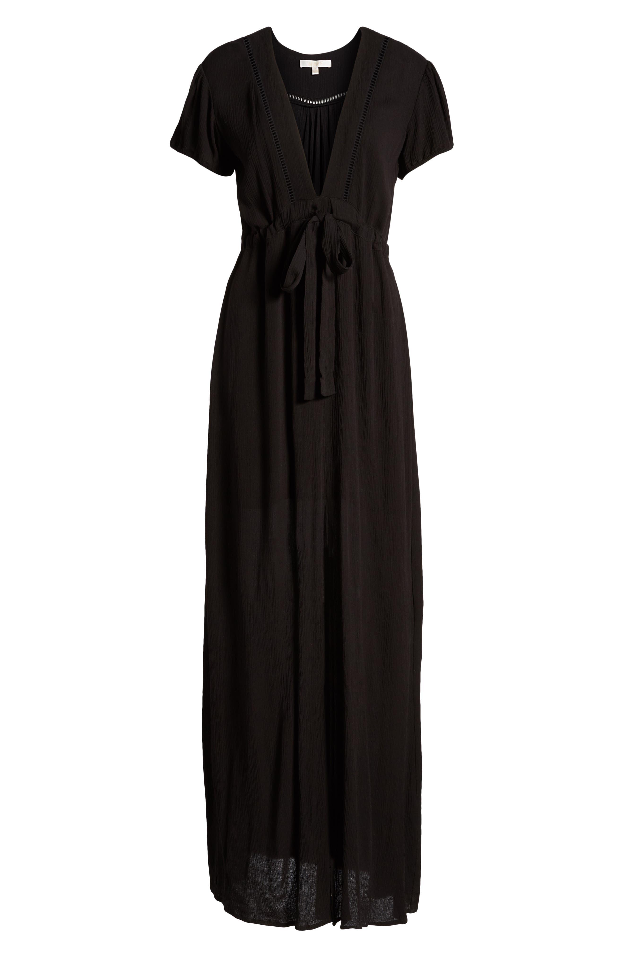 Maya Tie Waist Dress,                             Alternate thumbnail 7, color,                             001