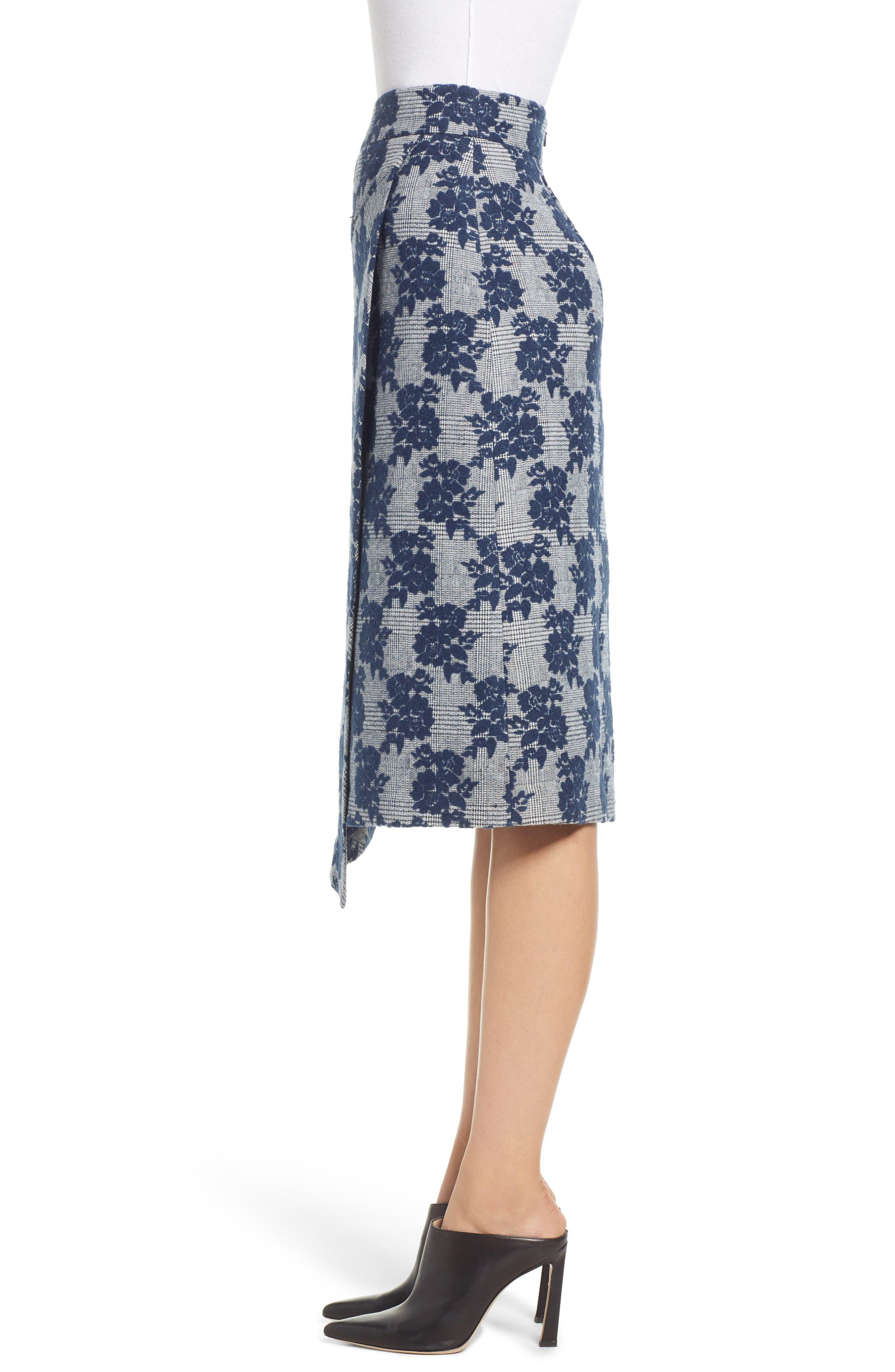 Floral Plaid Asymmetrical Skirt,                             Alternate thumbnail 3, color,                             BLUE PLAID FLORAL