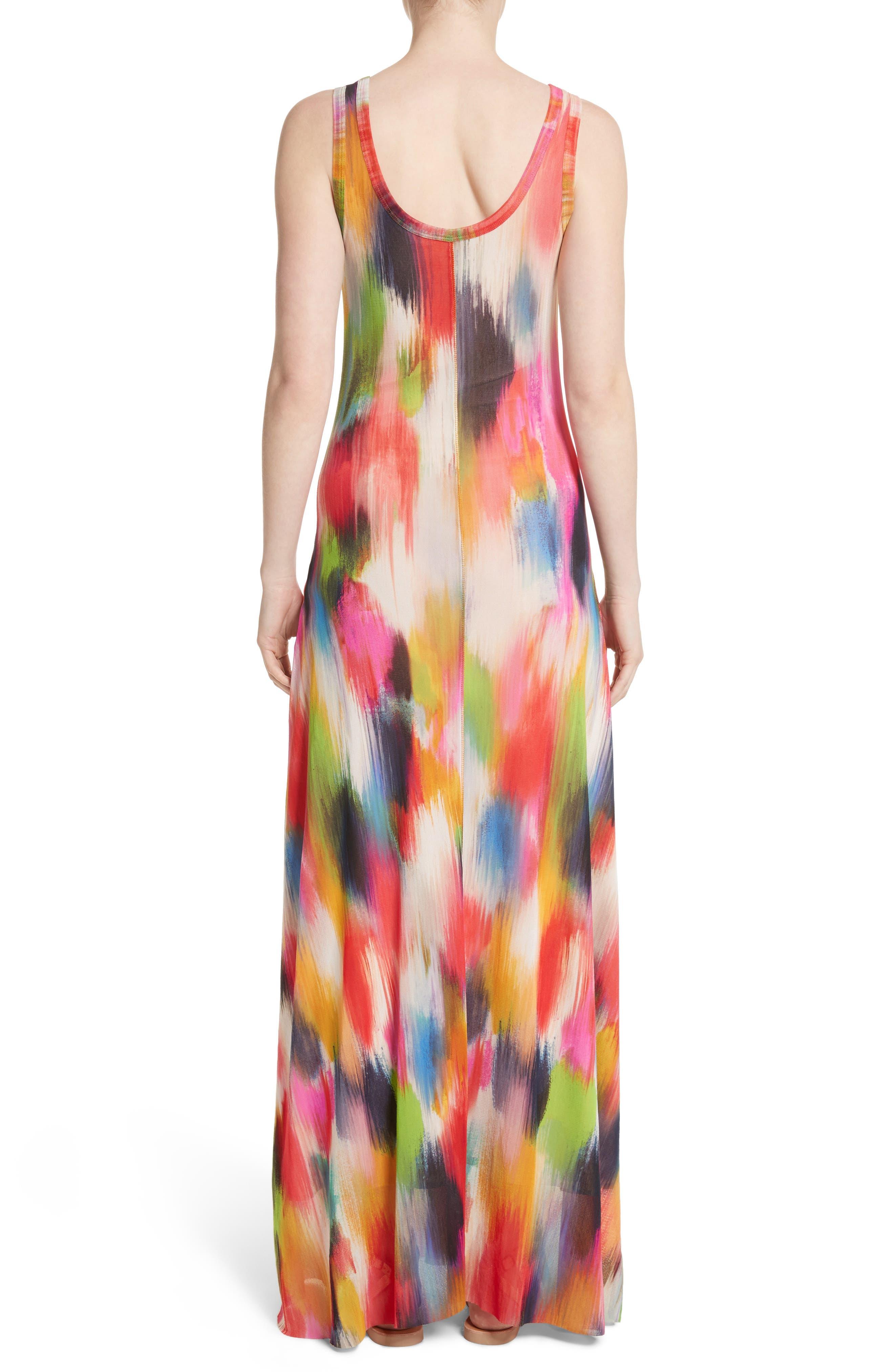 Brushstroke Print Tulle Maxi Dress,                             Alternate thumbnail 2, color,