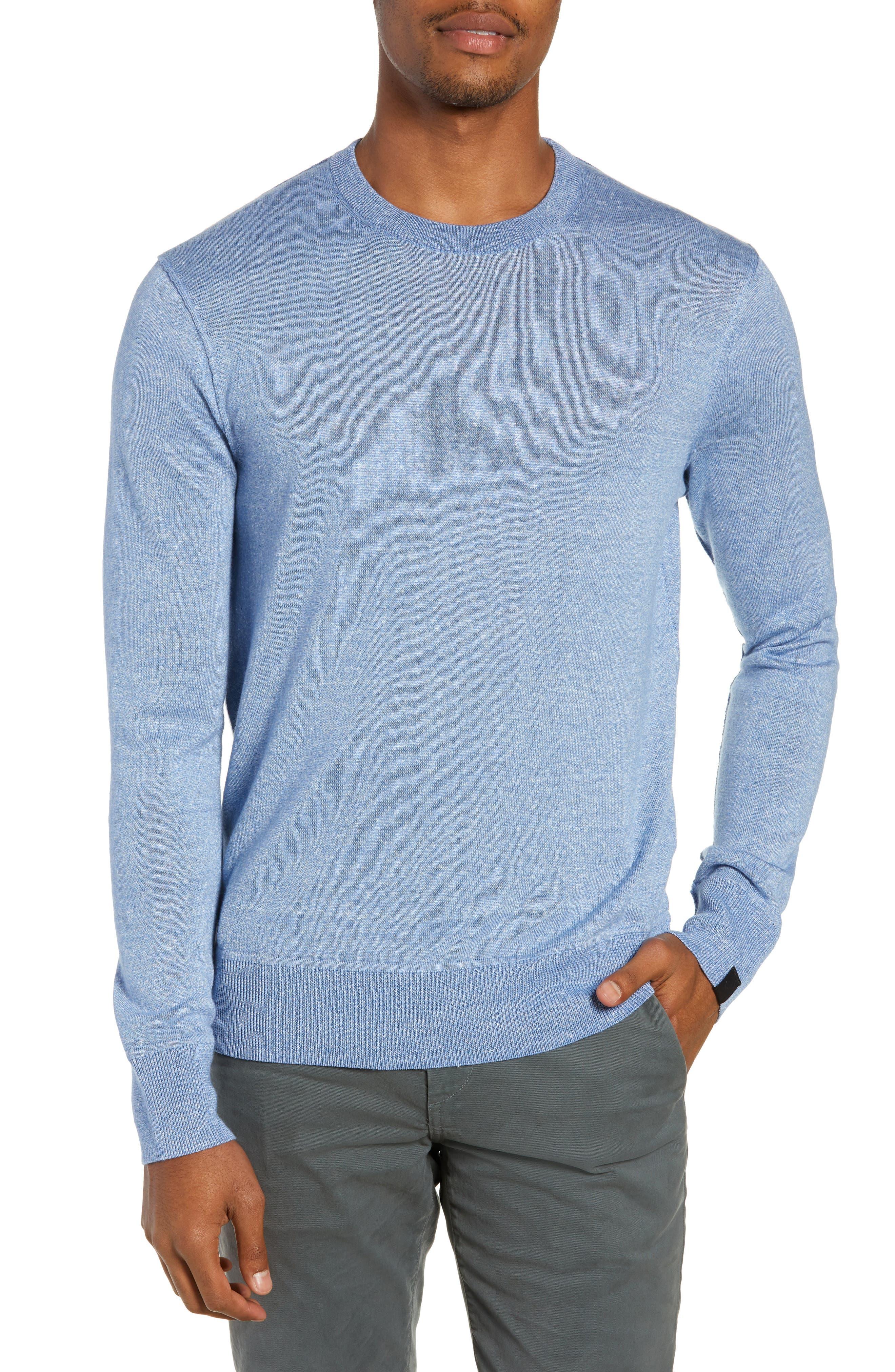 Men'S Dean Merino/Linen Crewneck Sweater in Light Blue