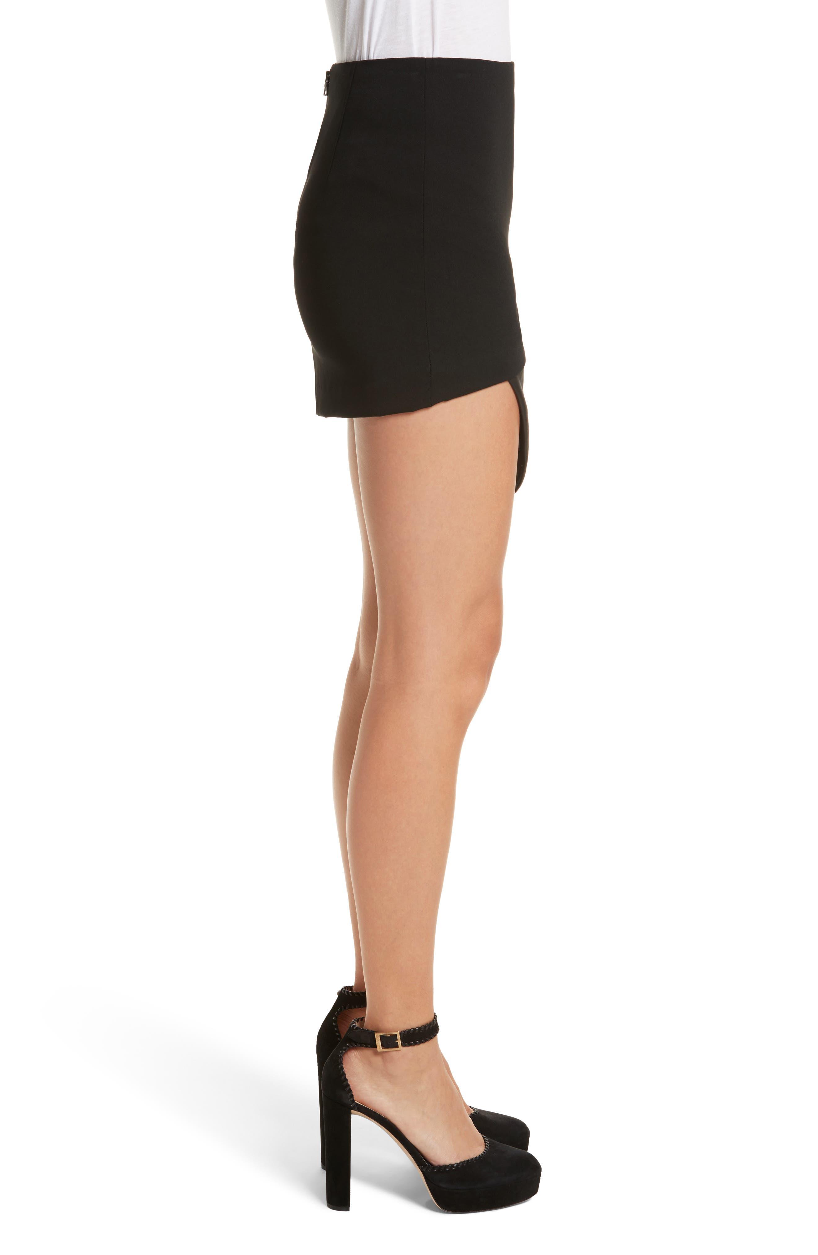 Dora Asymmetrical Miniskirt,                             Alternate thumbnail 3, color,                             001
