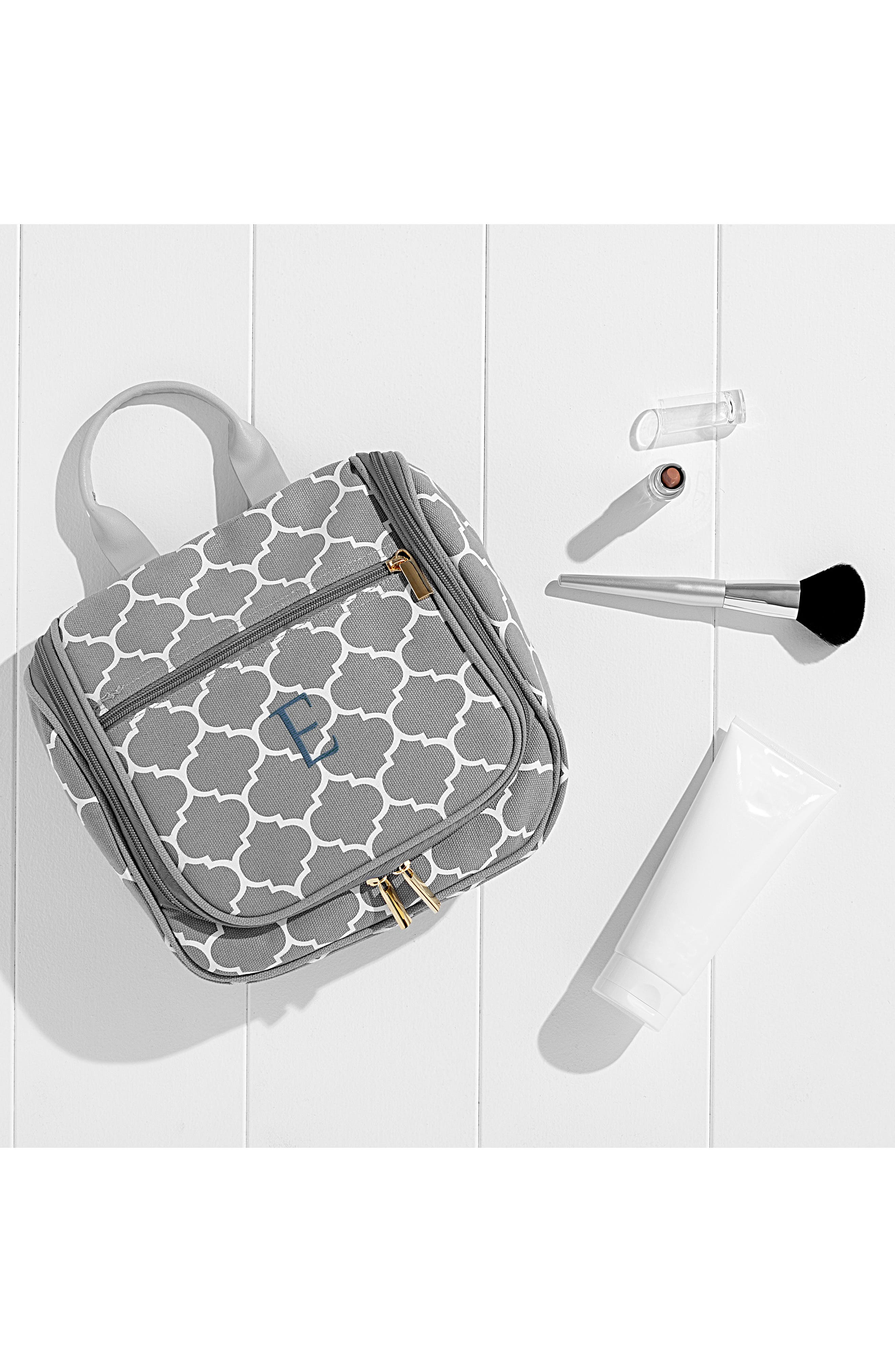 CATHY'S CONCEPTS,                             Monogram Travel Kit,                             Alternate thumbnail 4, color,                             GREY