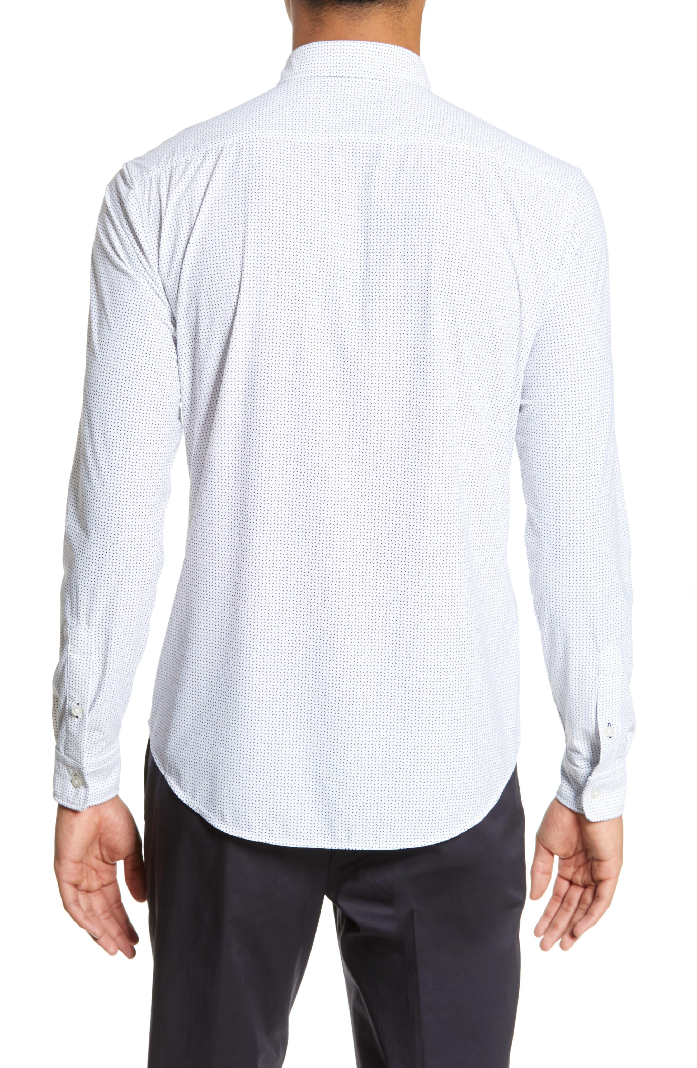 Rikki Slim Fit Microprint Sport Shirt,                             Alternate thumbnail 2, color,                             WHITE MICRO