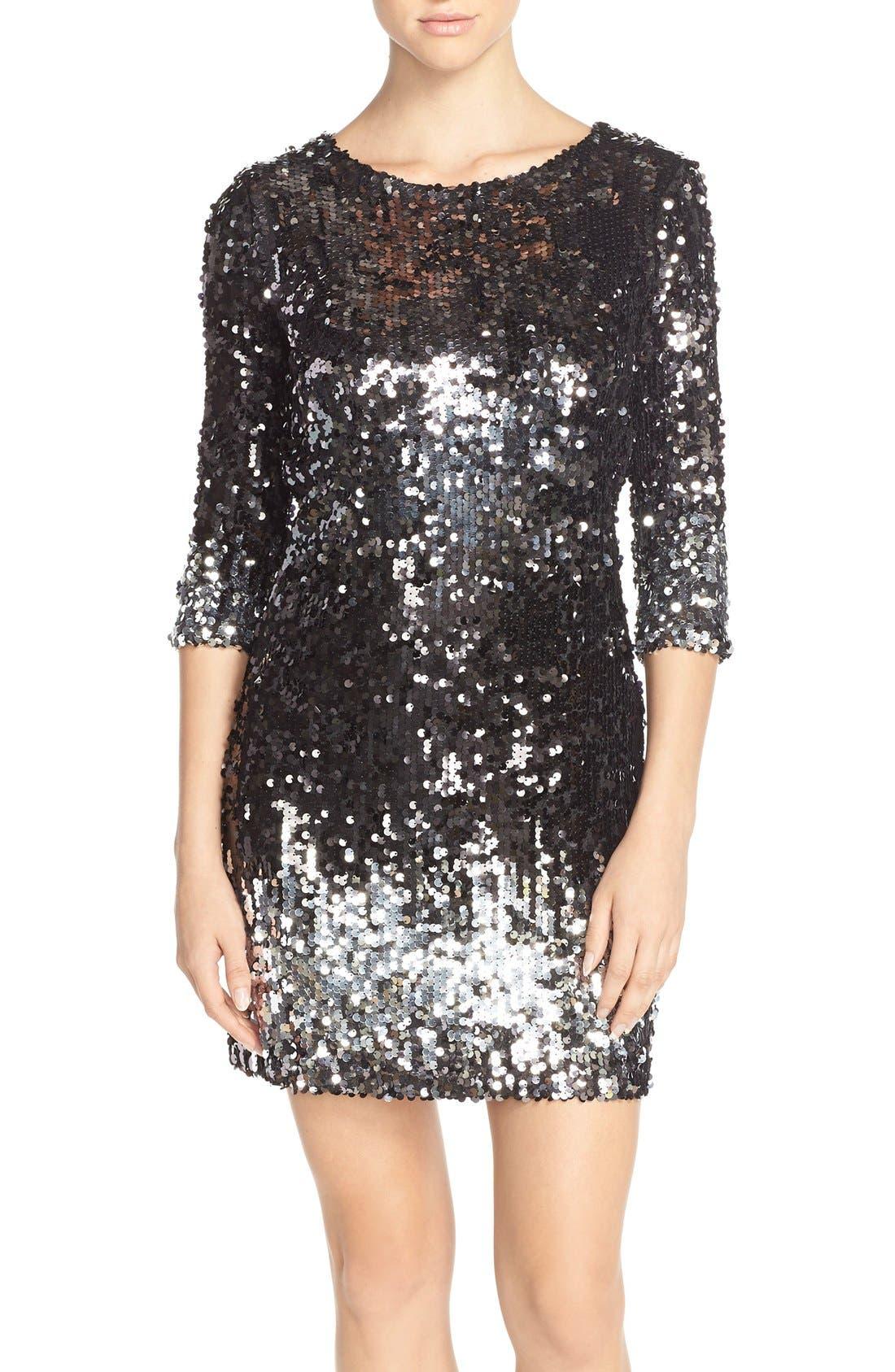 'Elise' Ombré Sequin Sheath Dress,                             Main thumbnail 1, color,                             003