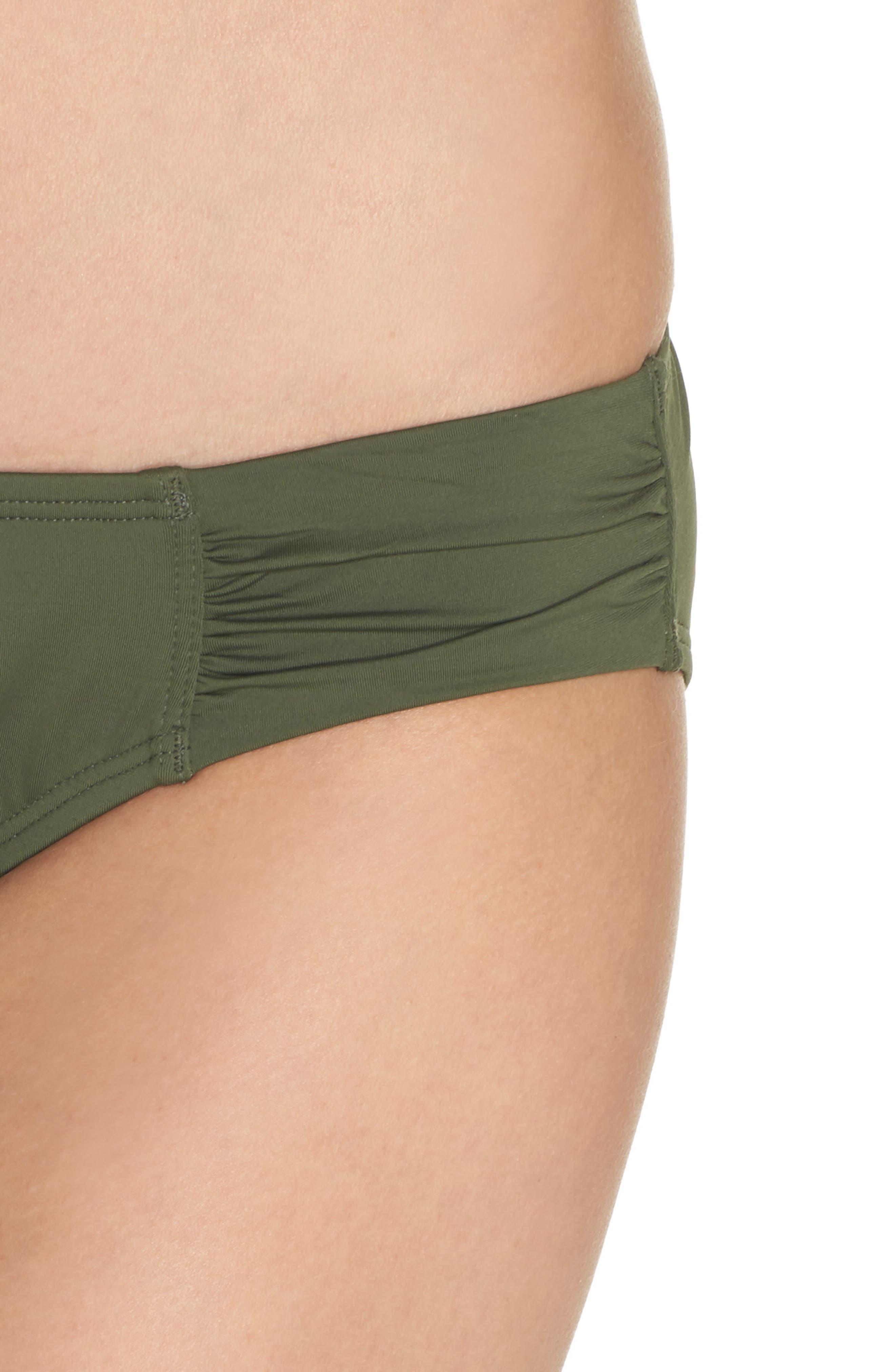 Side Shirred Hipster Bikini Bottoms,                             Alternate thumbnail 4, color,                             DARK TEA LEAF