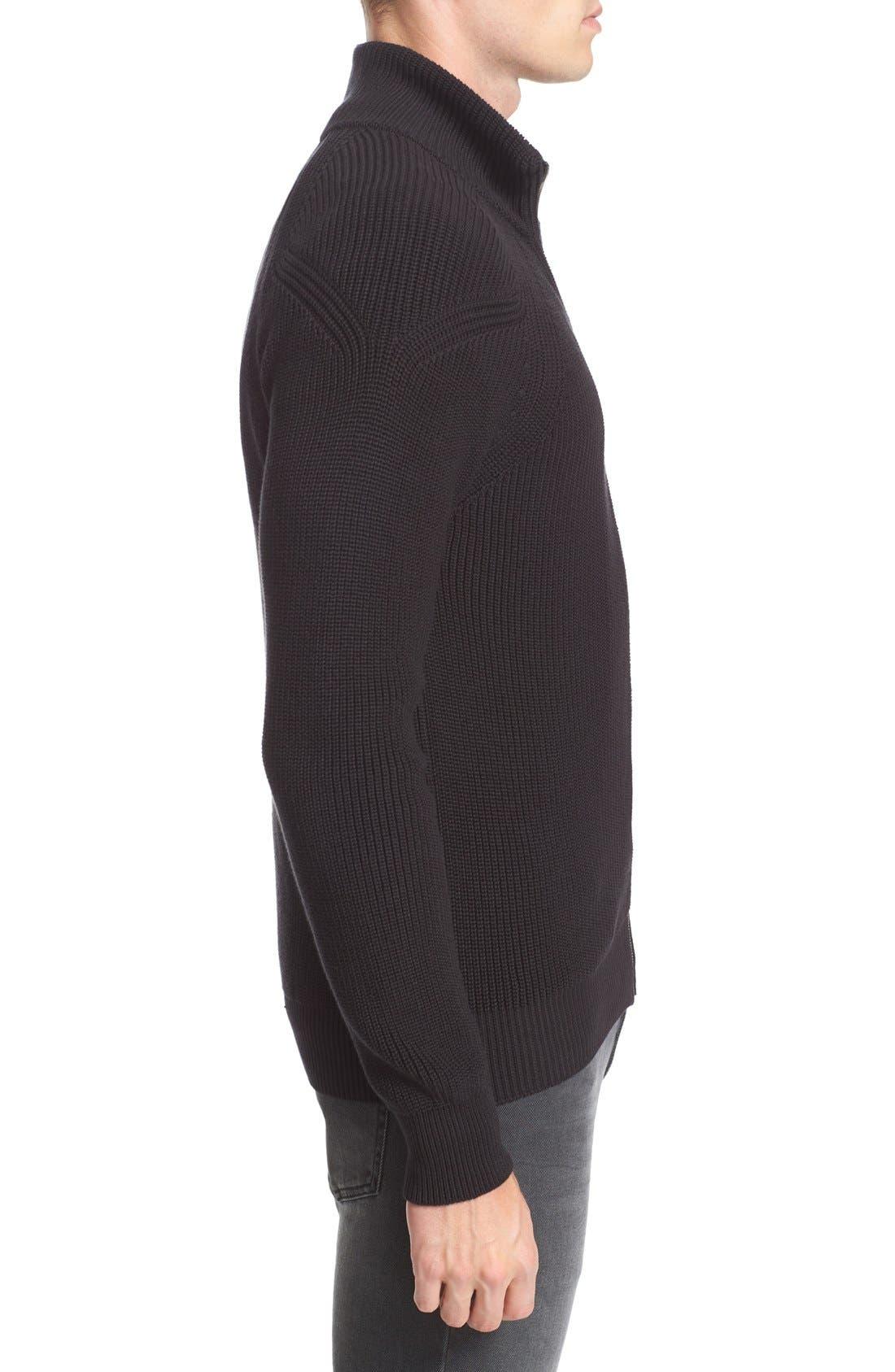 Parkgate Zip Front Mock Neck Sweater,                             Alternate thumbnail 3, color,                             001