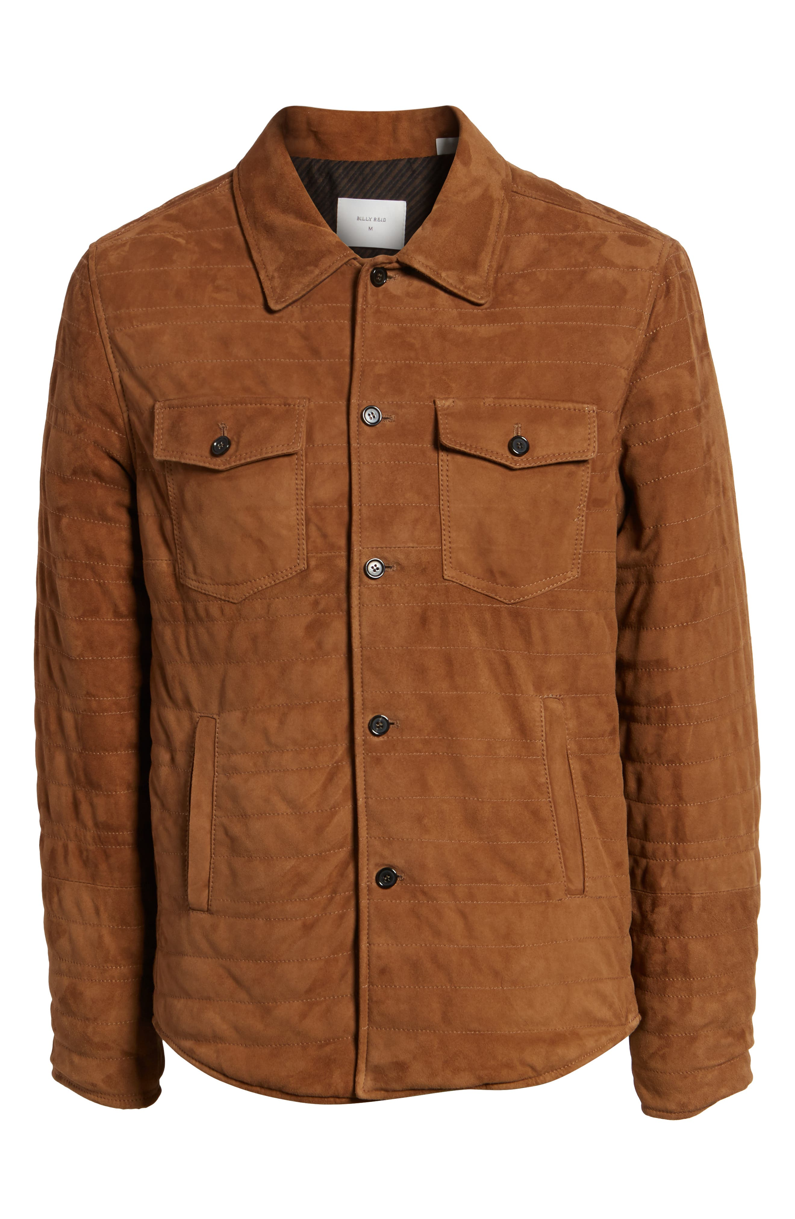 Regular Fit Quilted Suede Shirt Jacket,                             Alternate thumbnail 6, color,                             RUBBER