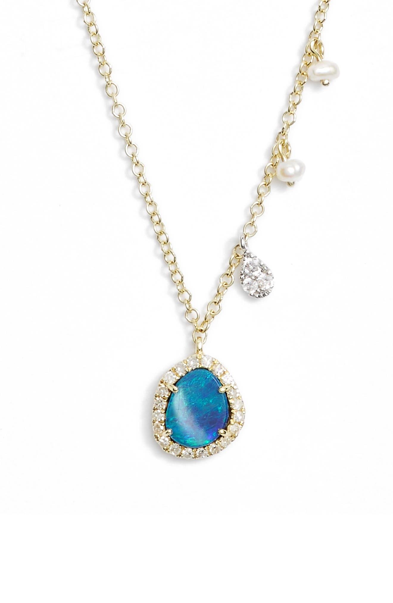 Mini Stone Diamond Pendant Necklace,                         Main,                         color, YELLOW GOLD/ OPAL