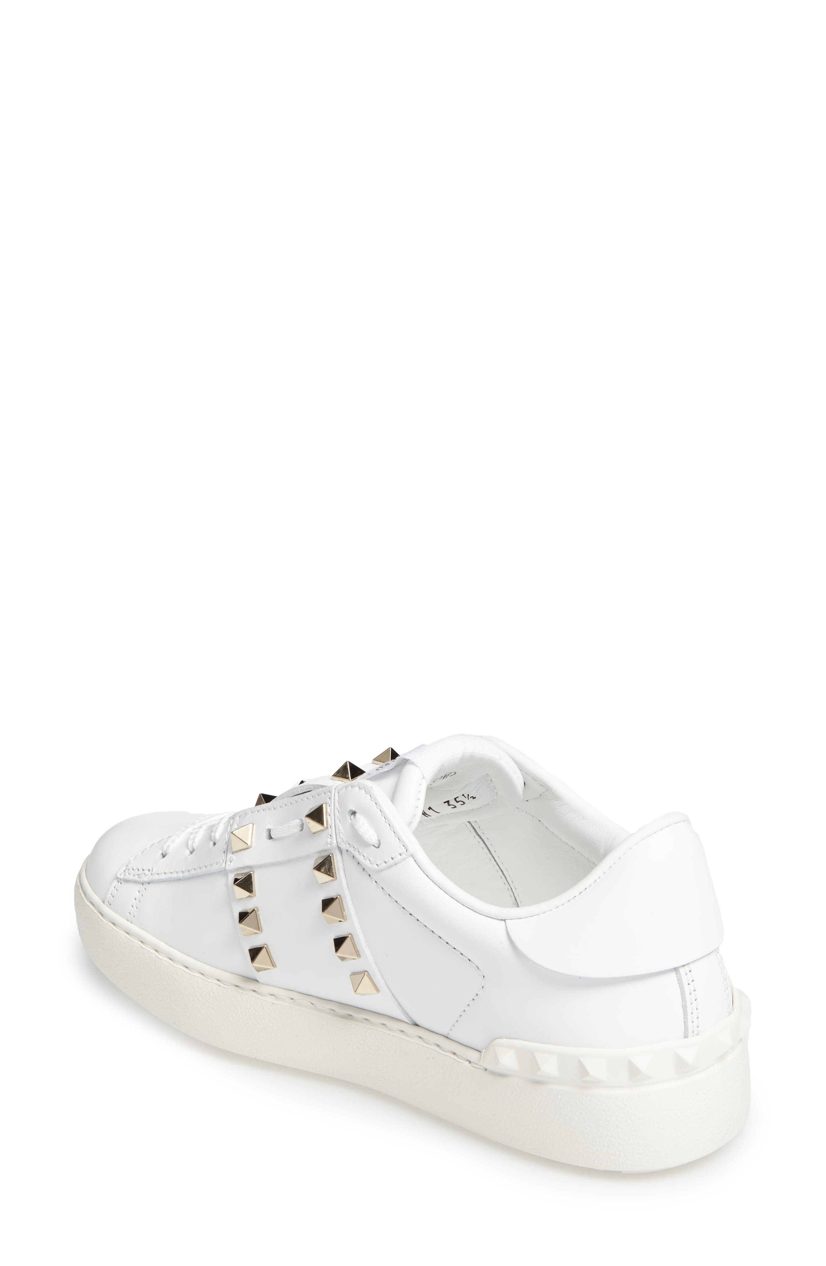 'Rockstud' Sneaker,                             Alternate thumbnail 2, color,                             WHITE LEATHER