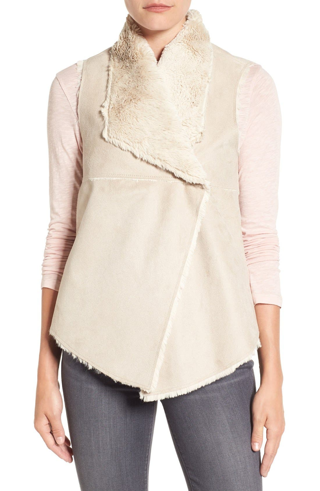 DYLAN,                             'Madison' Faux Shearling Vest,                             Alternate thumbnail 5, color,                             256