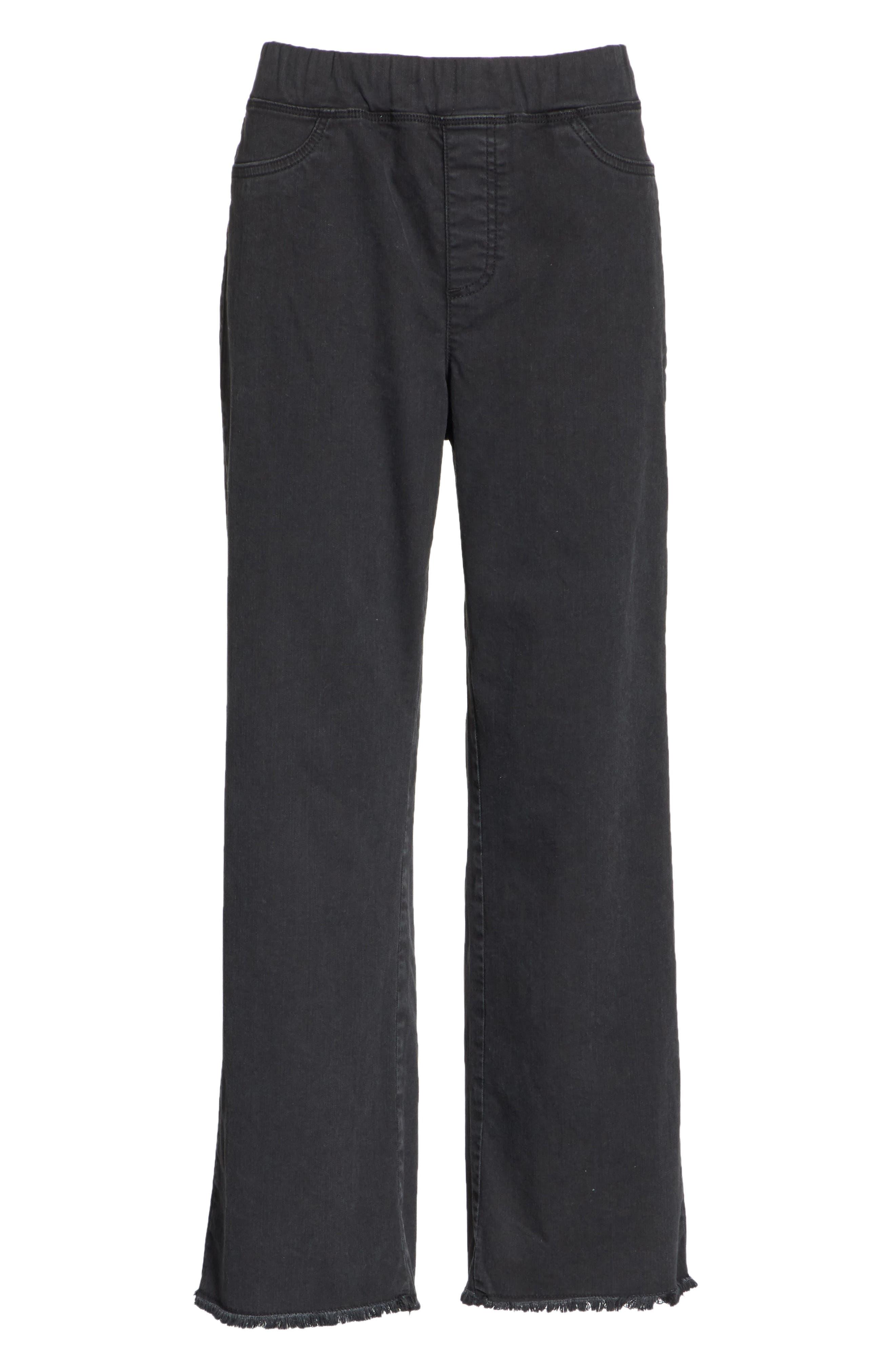 Frayed Hem Pull-On Ankle Jeans,                             Alternate thumbnail 6, color,                             WASHED BLACK