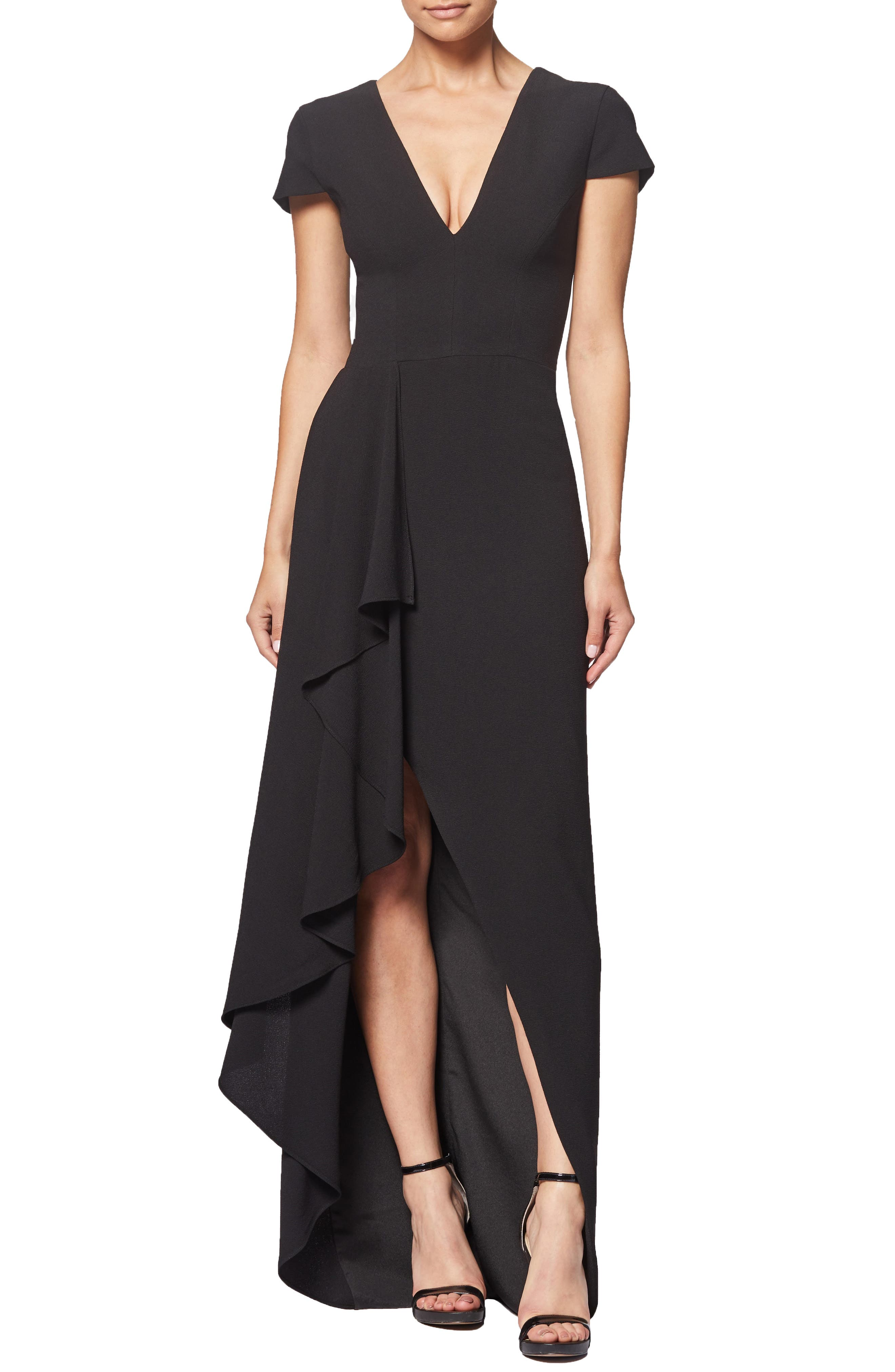 Alma Cap Sleeve Waterfall Crepe Gown, Main, color, BLACK