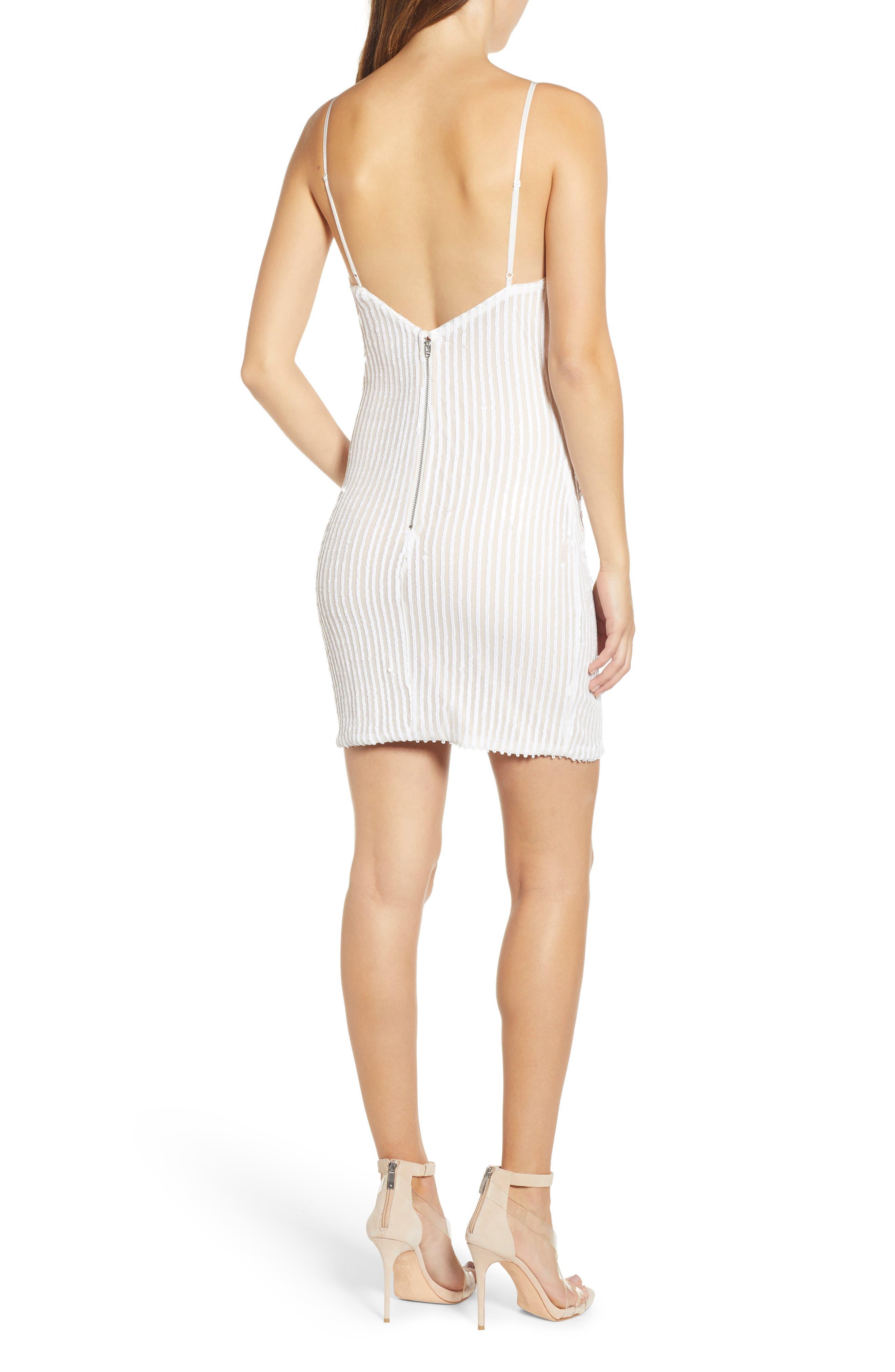 Tiffany Sequin Stripe Sheath Dress,                             Alternate thumbnail 2, color,                             WHITE