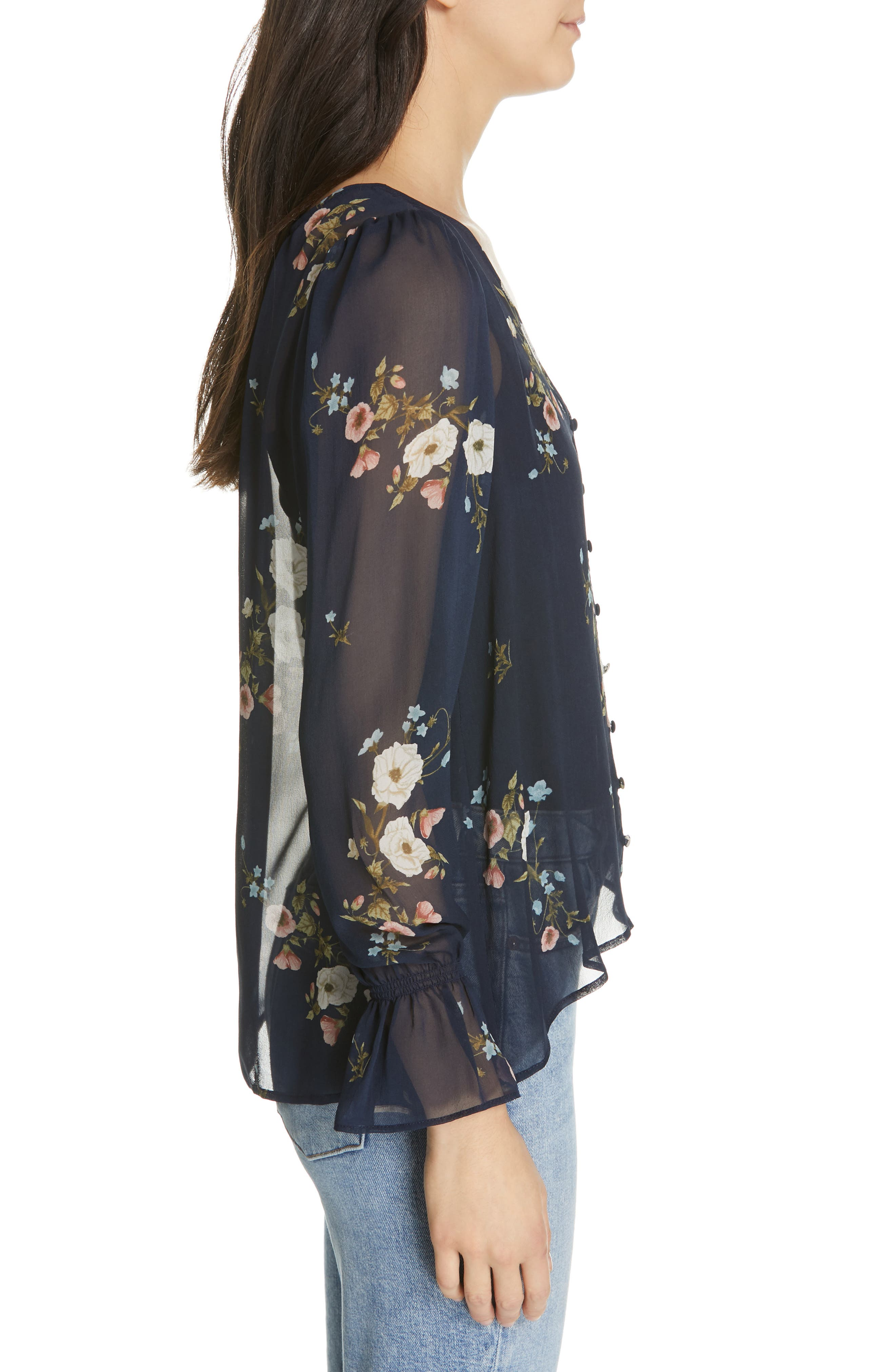 JOIE,                             Bolona Floral Silk Blouse,                             Alternate thumbnail 3, color,                             MIDNIGHT
