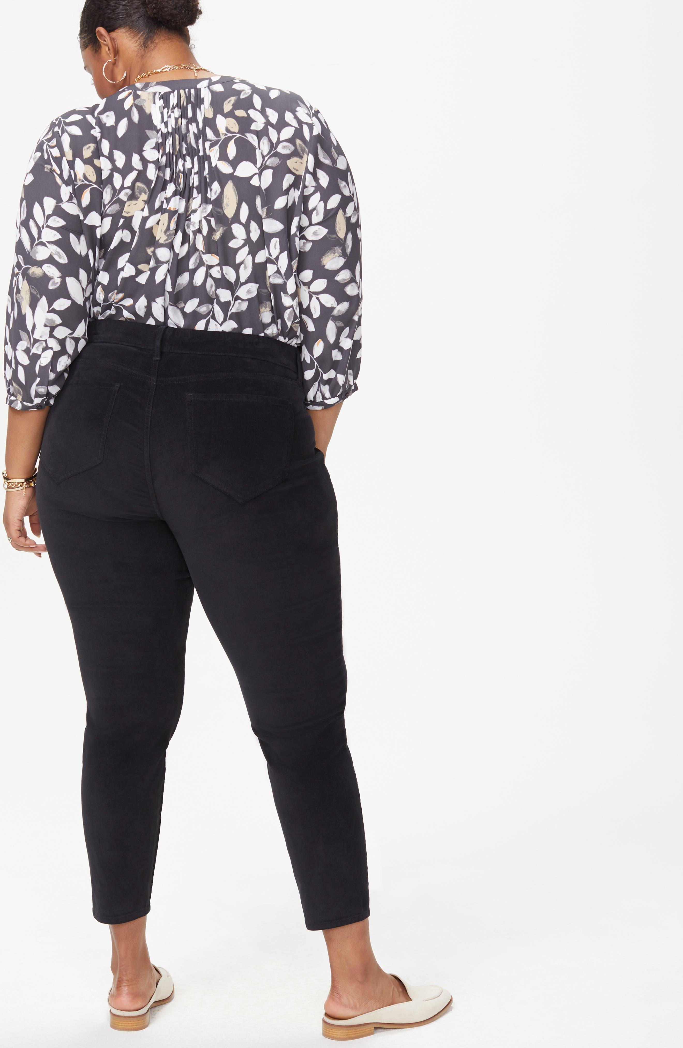 Ami Twist Seam Ankle Slit Velvet Pants,                             Alternate thumbnail 5, color,                             BLACK